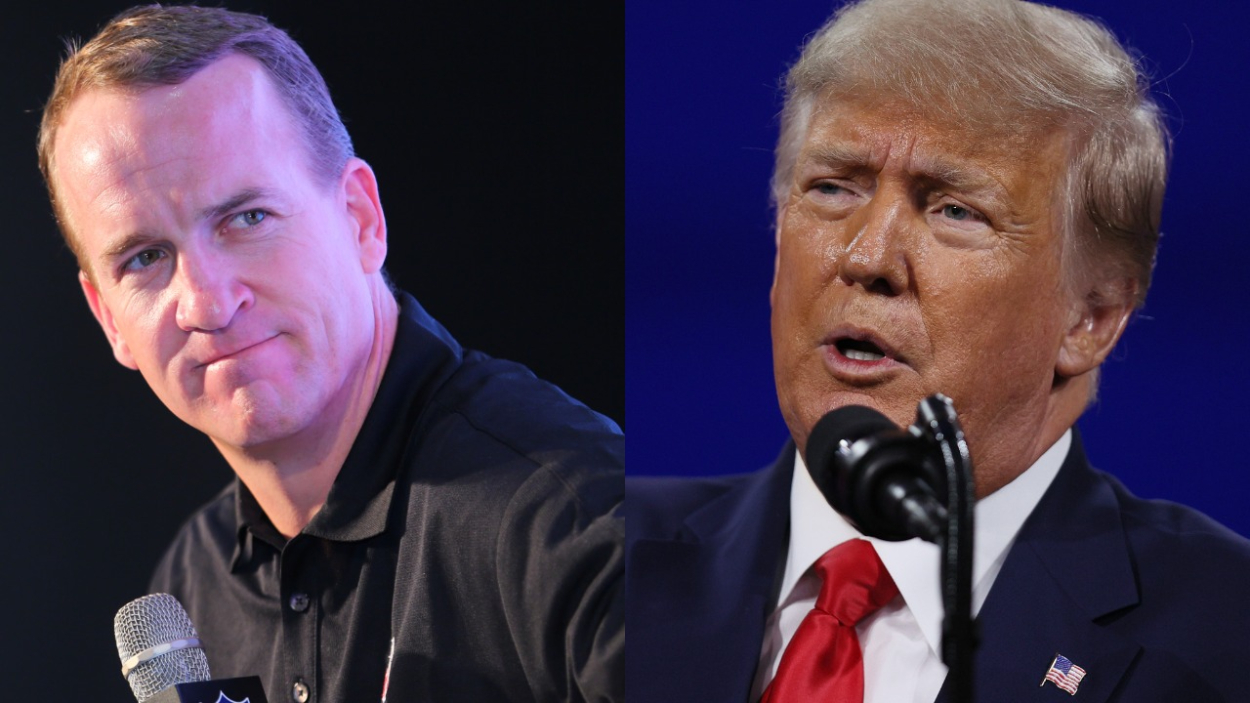 Former Colts quarterback Peyton Manning and former U.S. President Donald Trump.