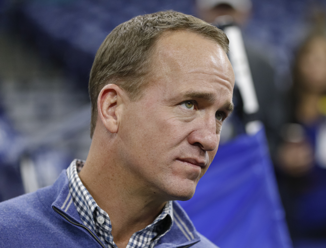 Former No. 1 draft pick with the Colts, Peyton Manning, prior to a game between the Colts and Dolphins in 2019.
