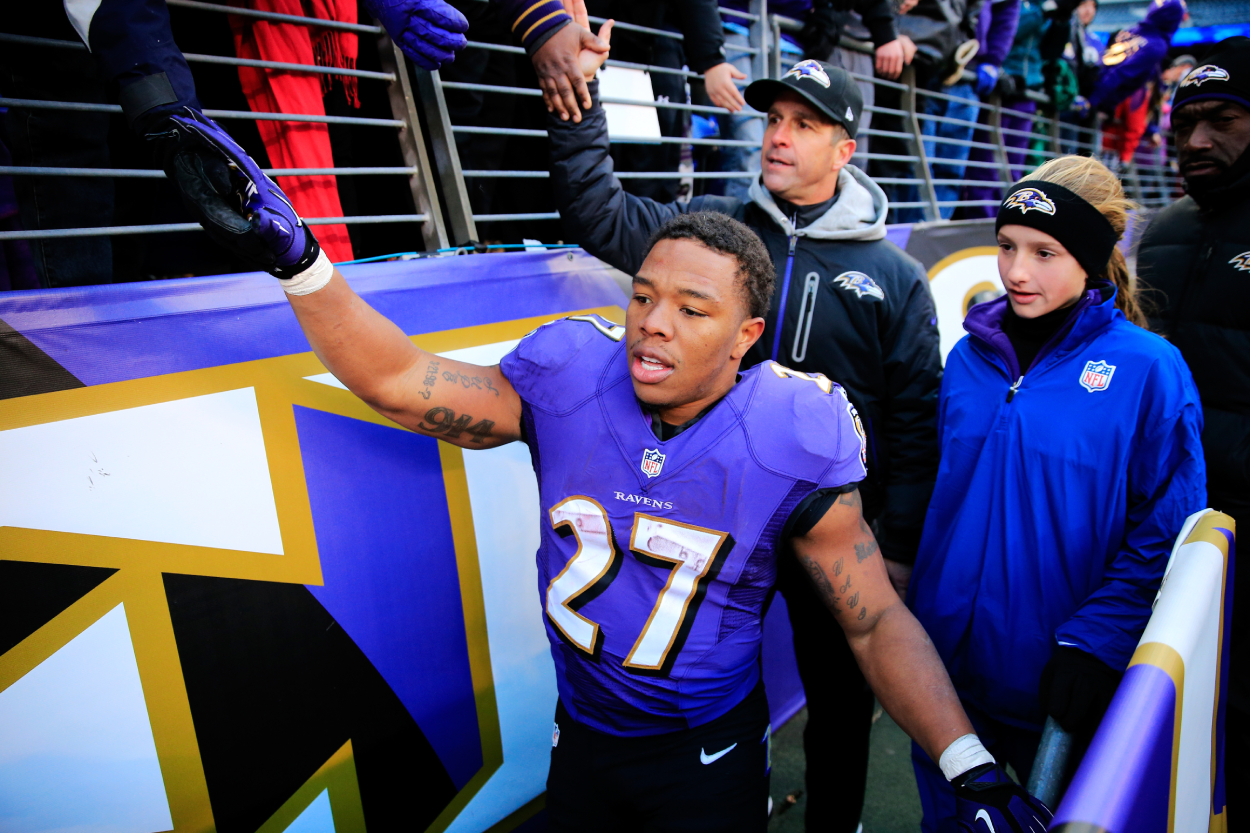 Former Ravens running back Ray Rice, who has not played in the NFL since the horrible altercation with his wife, after a game in 2013.