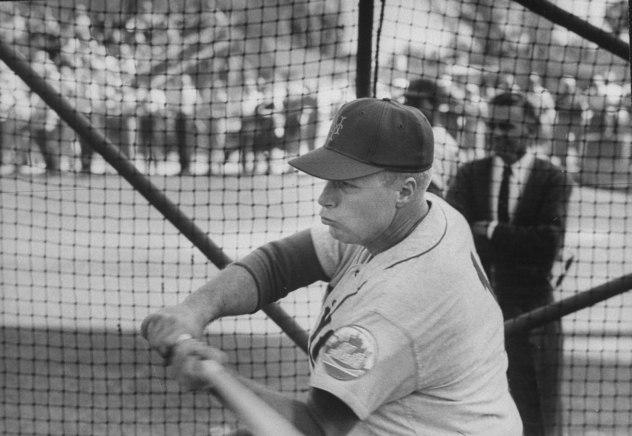 New York Mets CF Richie Ashburn at batting practice