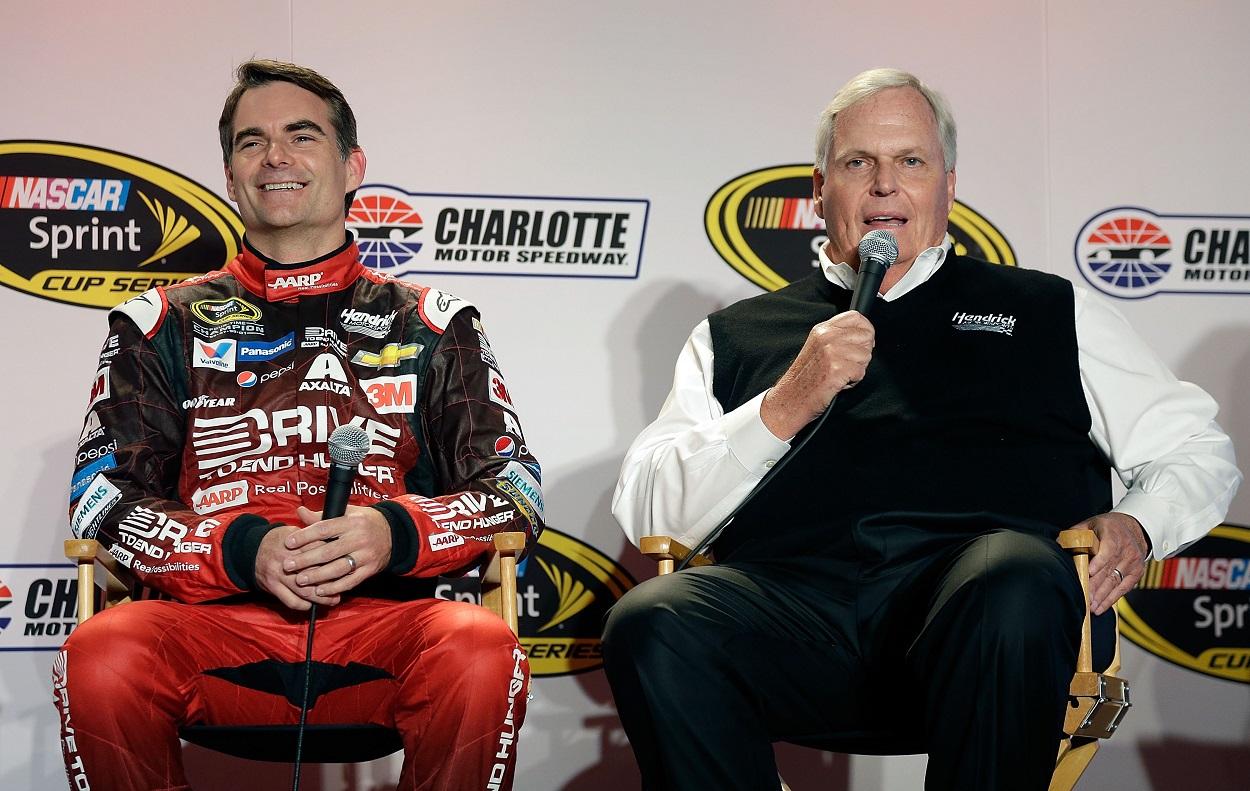 Rick Hendrick and Jeff Gordon speak to the NASCAR media