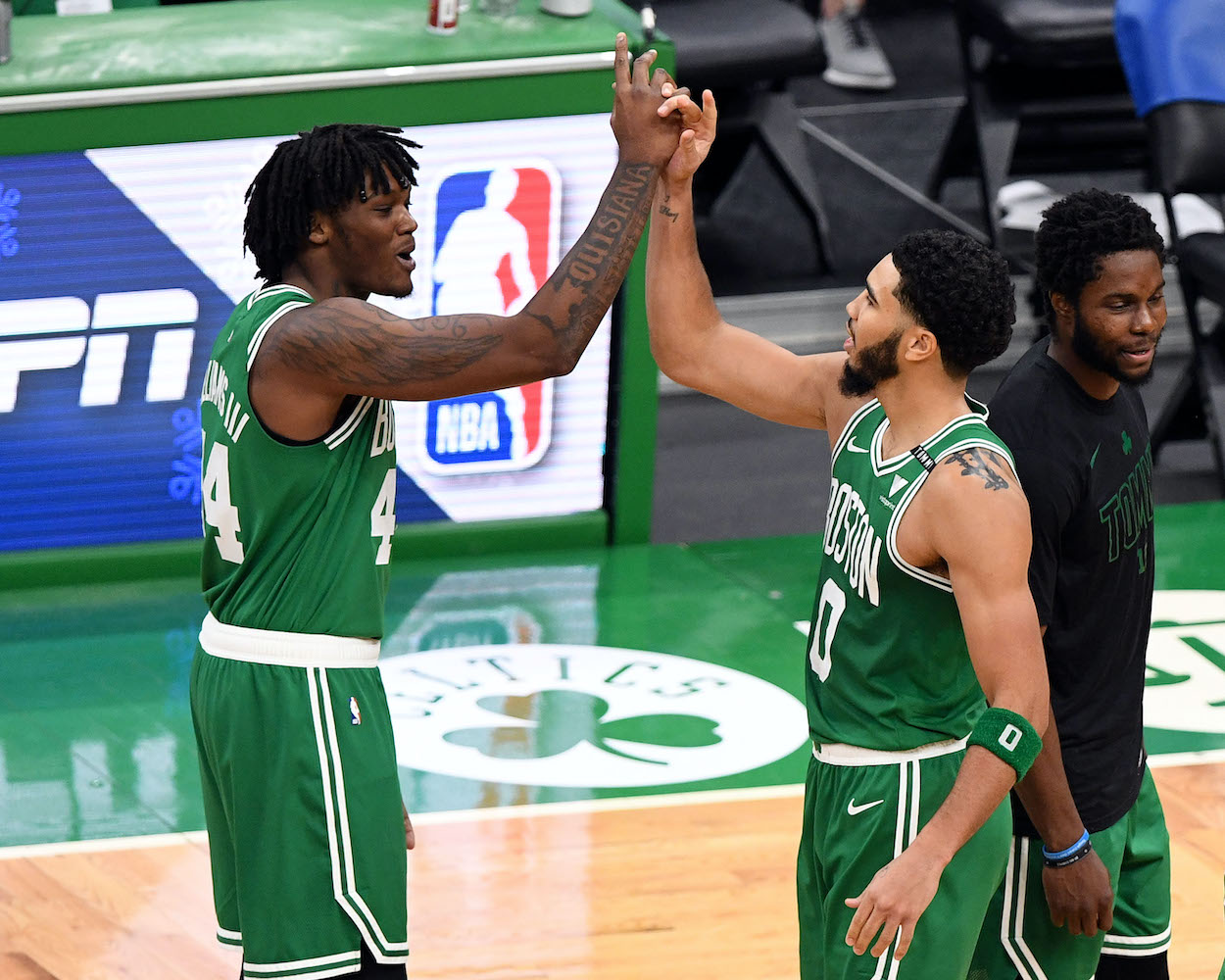 Boston Celtics players Robert Williams and Jayson Tatum