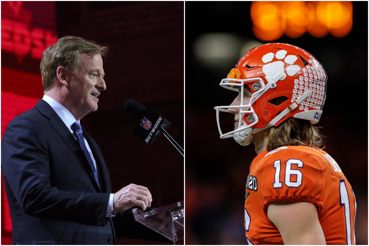 NFL commissioner Roger Goodell stands at the podium during the NFL draft as Clemson quarterback Trevor Lawrence focuses ahead.