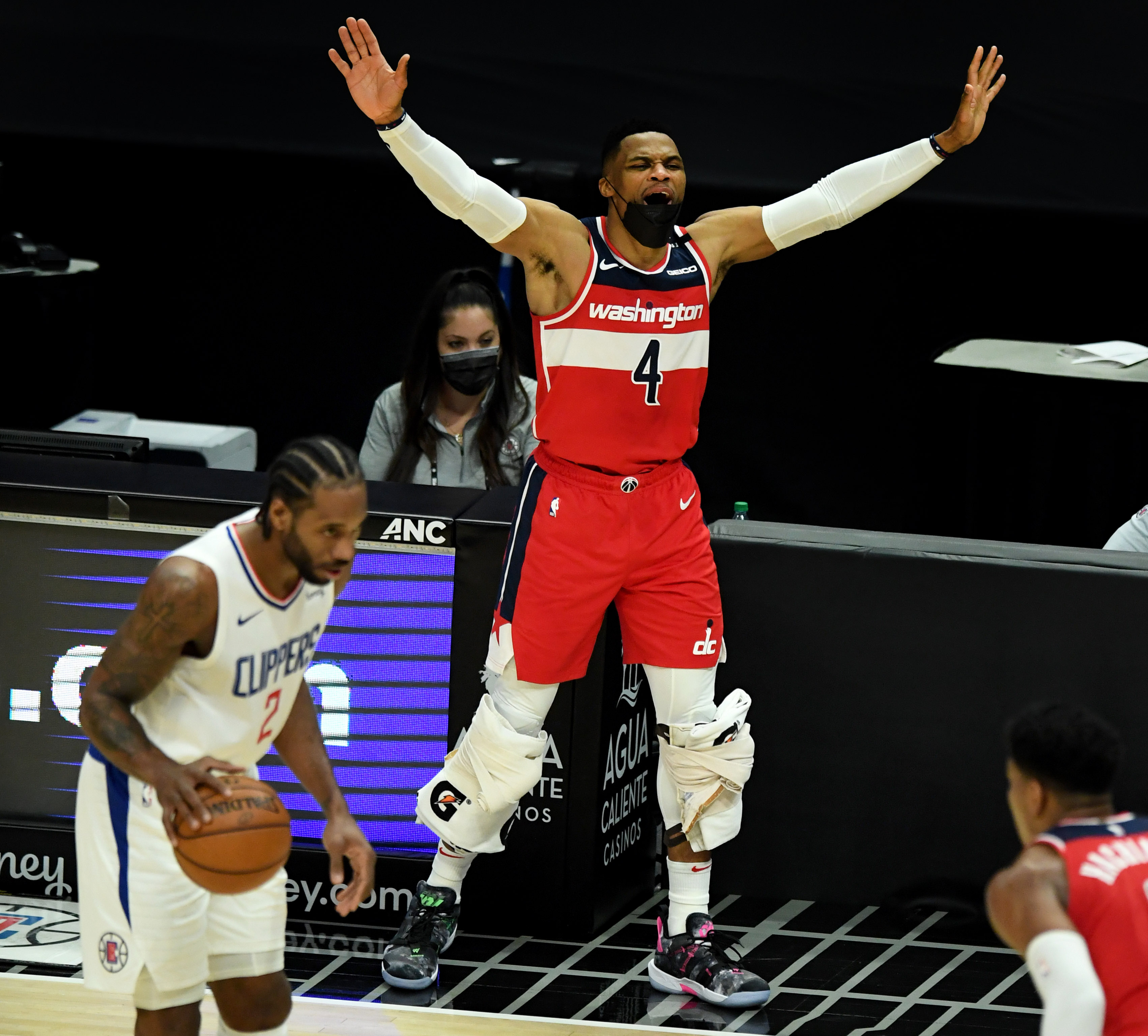 Russell Westbrook of the Washington Wizards reacts from the bench