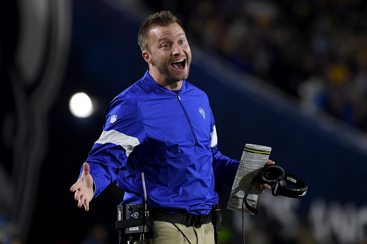 LA Rams head coach Sean McVay reacts to playing during a game.