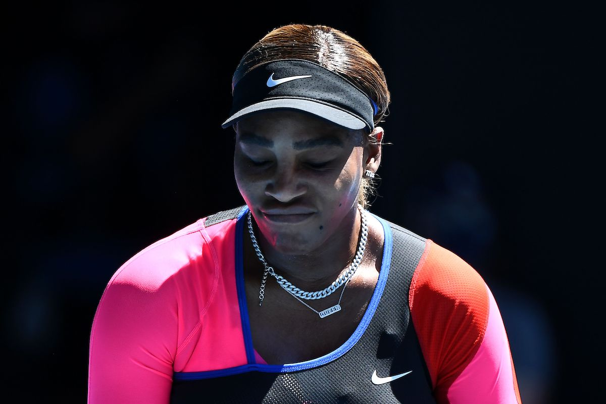 Tennis player Serena William reacts to a point