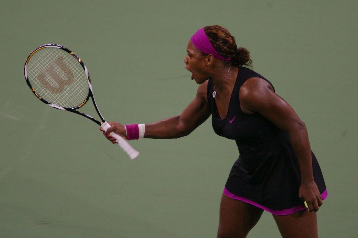 Tennis player Serena Williams argues a call during the 2009 US Open