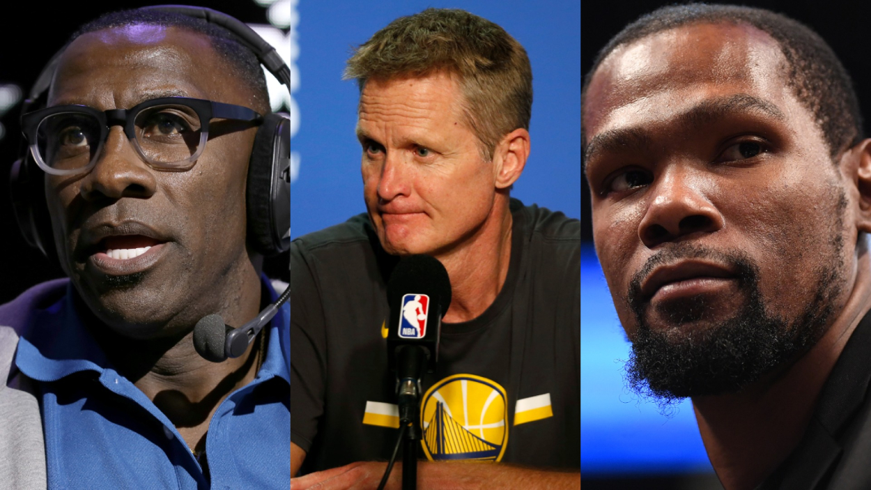 NFL legend Shannon Sharpe, Warriors coach Steve Kerr, and NBA star Kevin Durant.