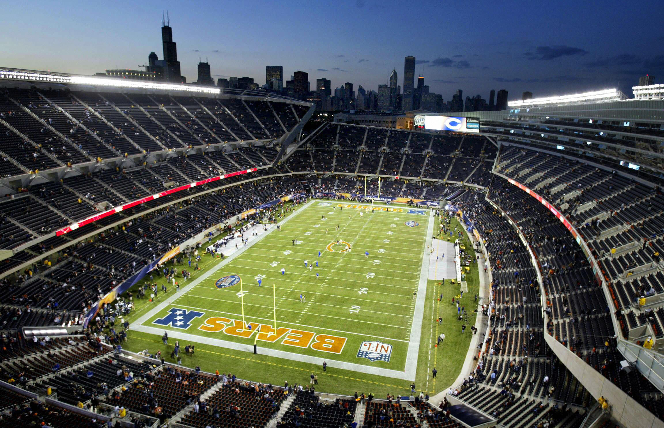 An aerial view of the Chicago Bears football stadium
