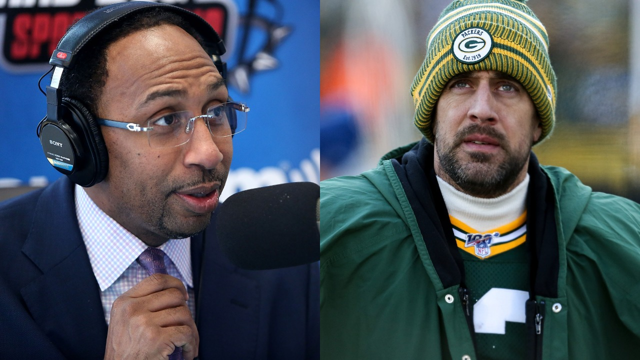 ESPN's Stephen A. Smith and Packers quarterback Aaron Rodgers.
