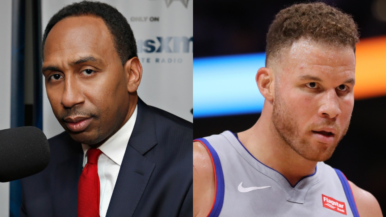 ESPN's Stephen A. Smith and Brooklyn Nets forward Blake Griffin.