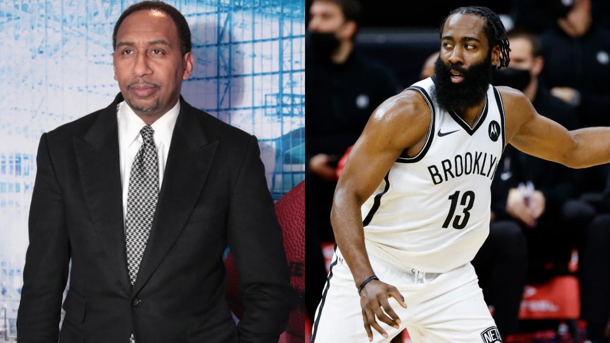 Stephen A. Smith of ESPN and NBA star James Harden.