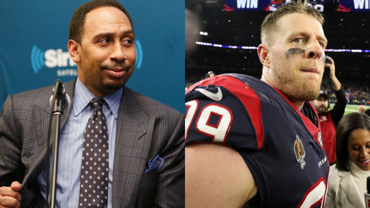 Stephen A. Smith of ESPN and former Houston Texans star J.J. Watt, who recently agreed to a deal with the Arizona Cardinals.