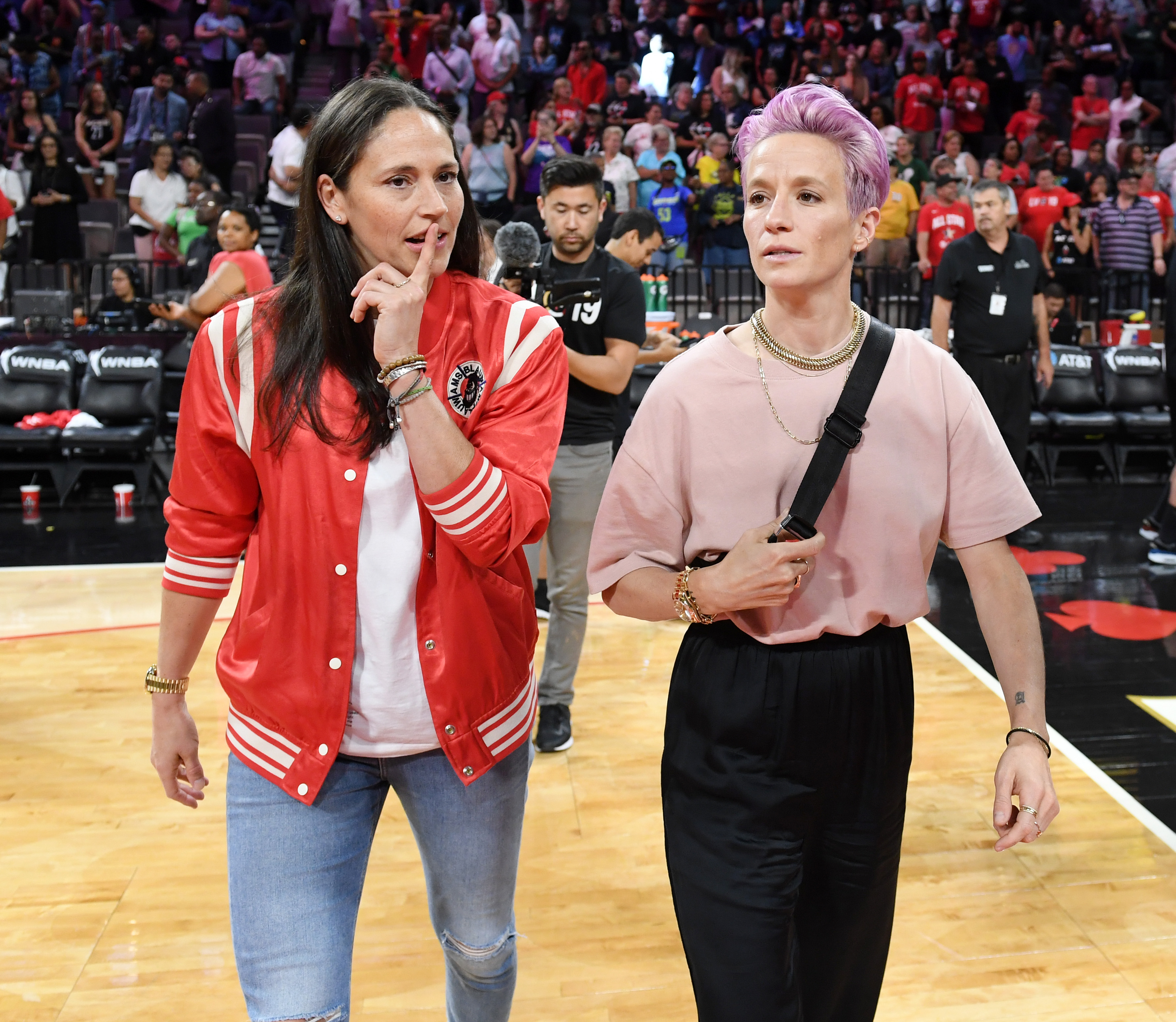Sue Bird of the Seattle Storm and soccer player Megan Rapinoe attend the 2019 WNBA All-Star Game