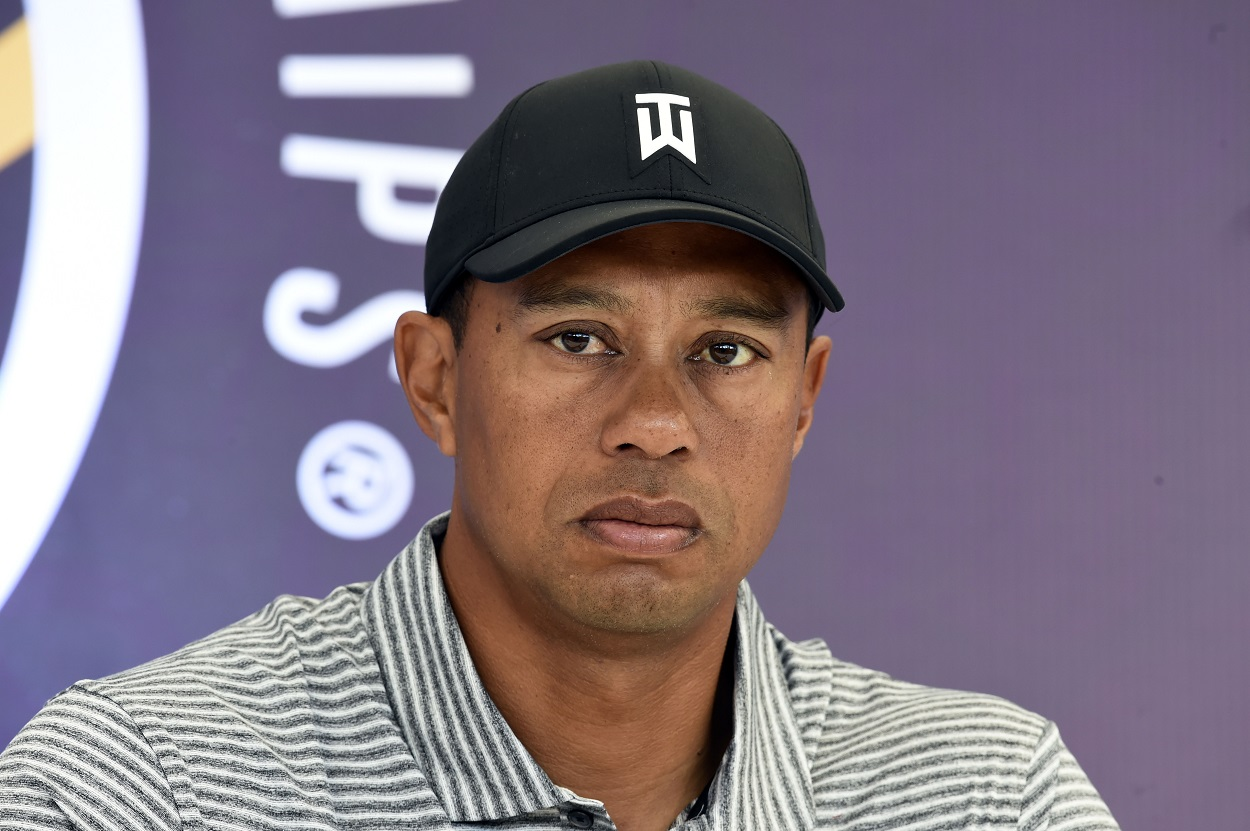 Tiger Woods at a press conference in 2019