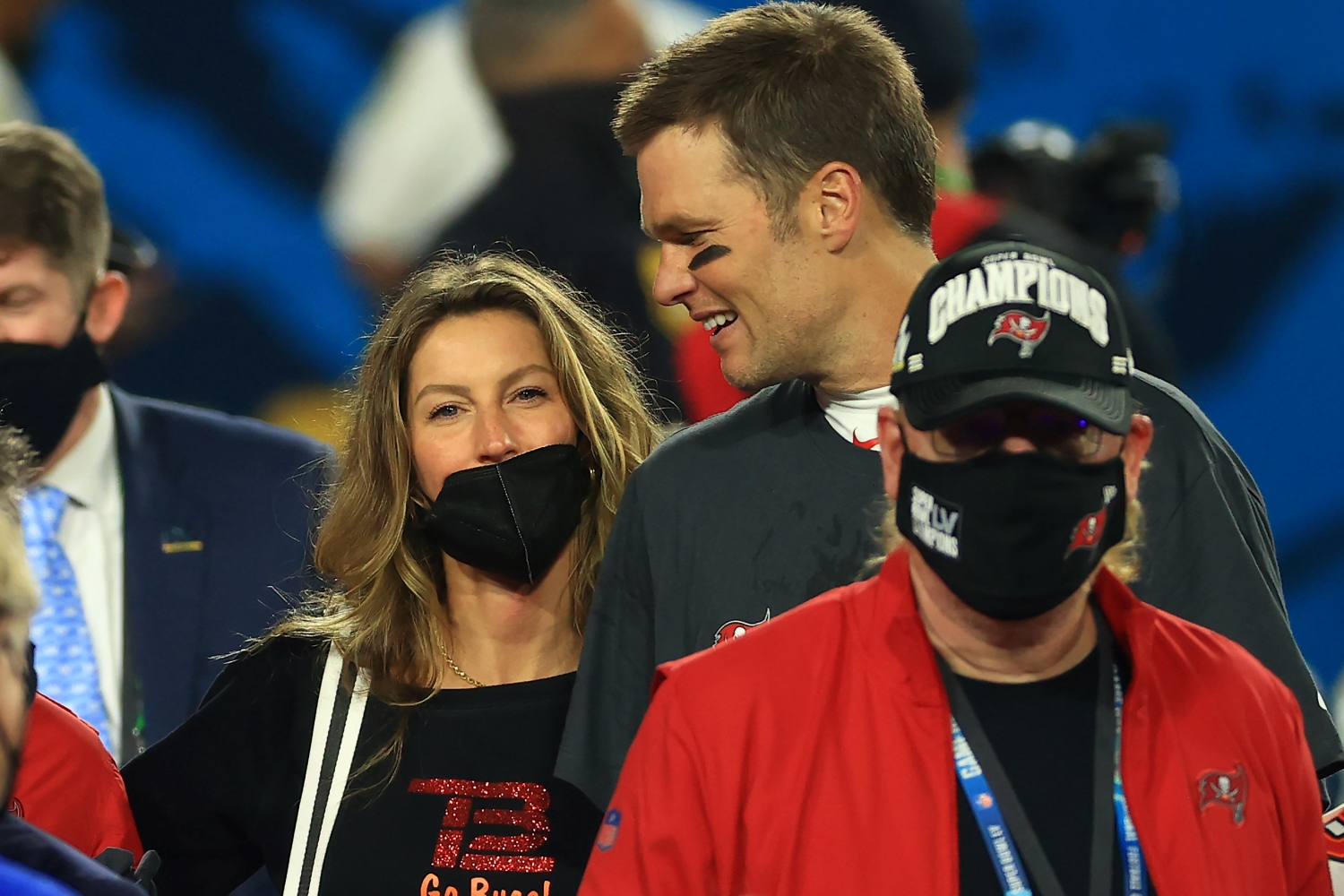 Tom Brady of the Tampa Bay Buccaneers celebrates with Gisele Bundchen after winning Super Bowl 55 on Feb. 7, 2021.