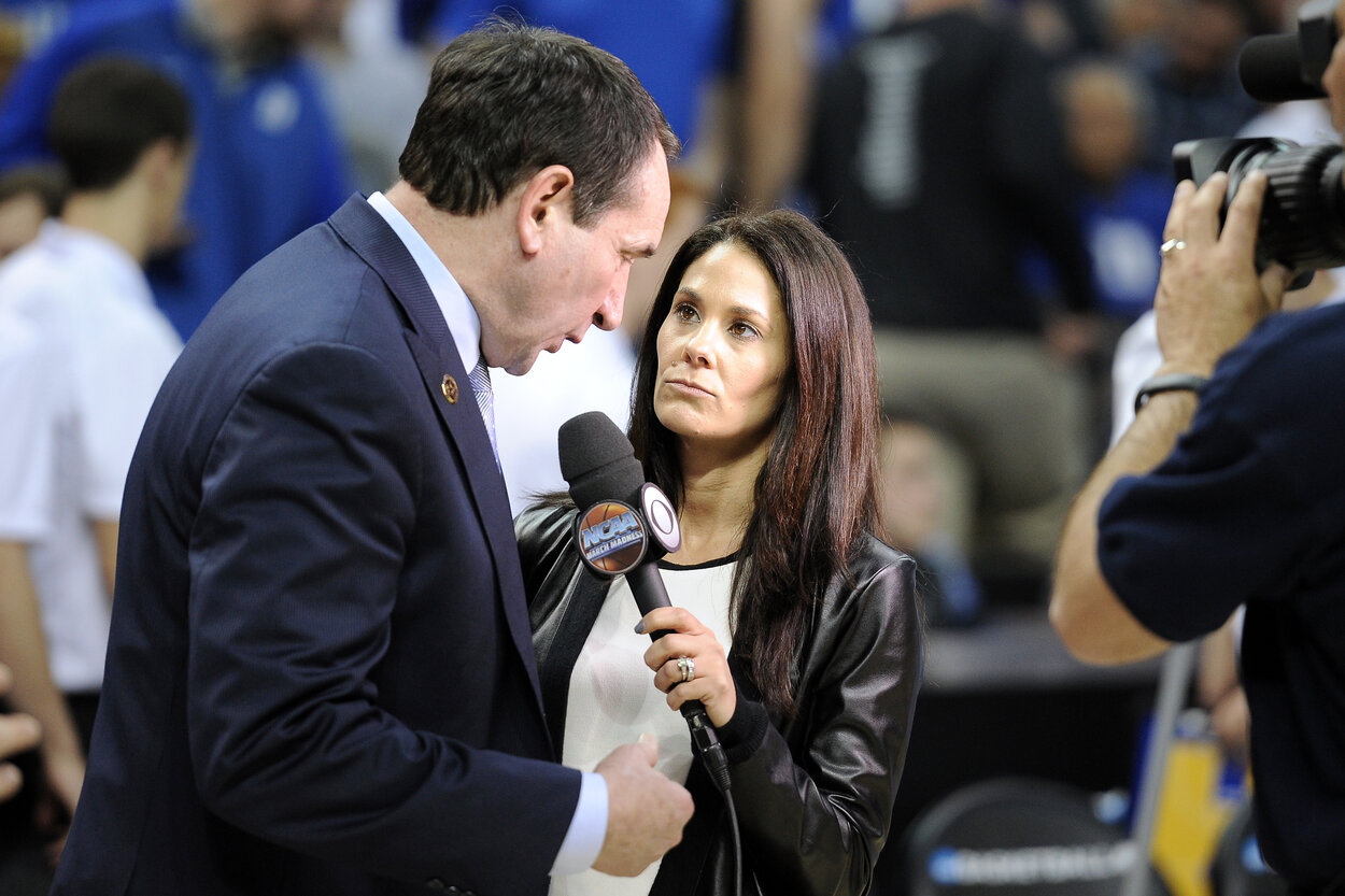Duke's Mike Krzyzewsk (L) and CBS sideline reporter Tracy Wolfson in 2015.