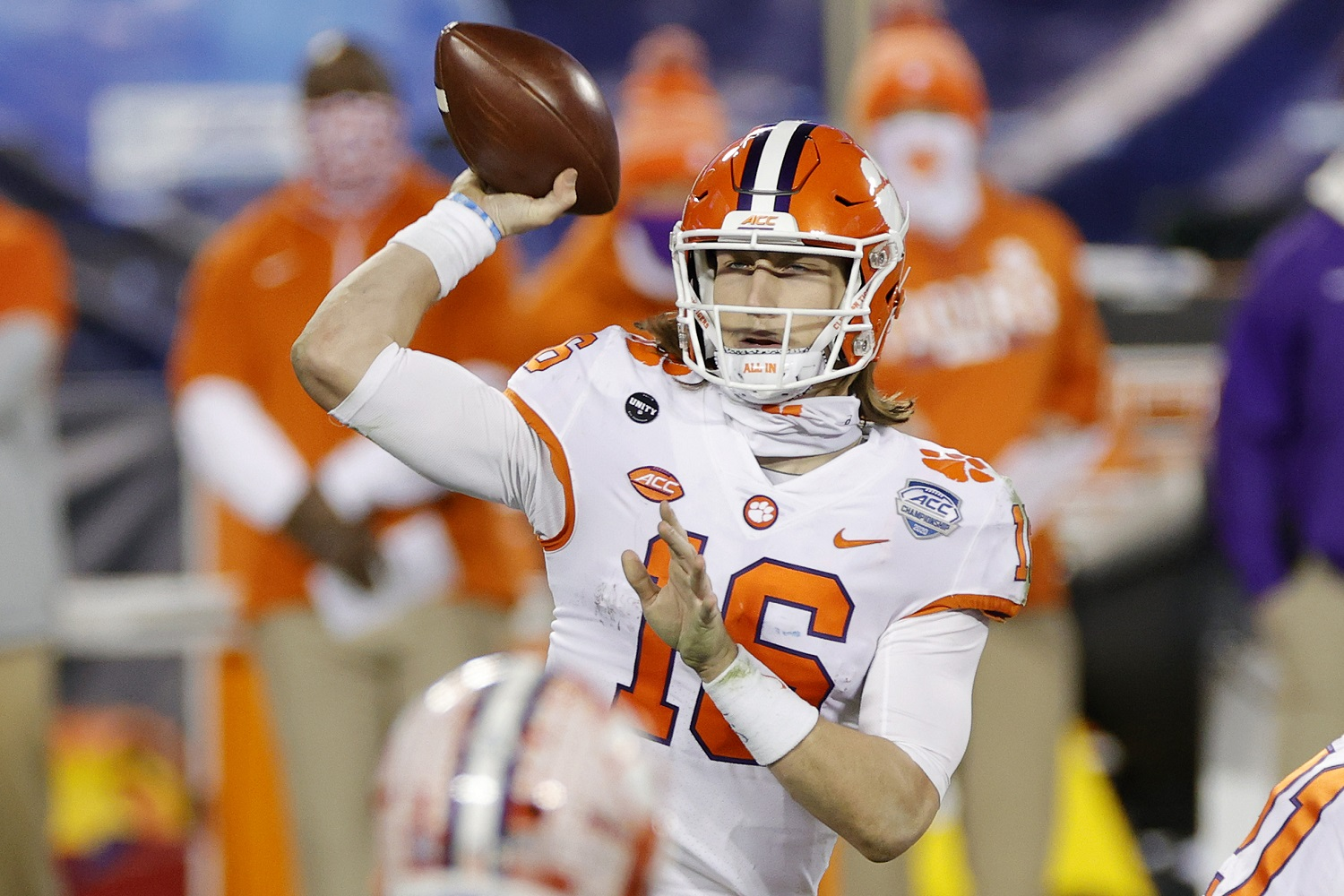 Quarterback Trevor Lawrence of Clemson has a busy month of April ahead, beginning with his wedding on April 10 and then his likely selection as the top pick of the NFL draft on April 29. | Jared C. Tilton/Getty Images