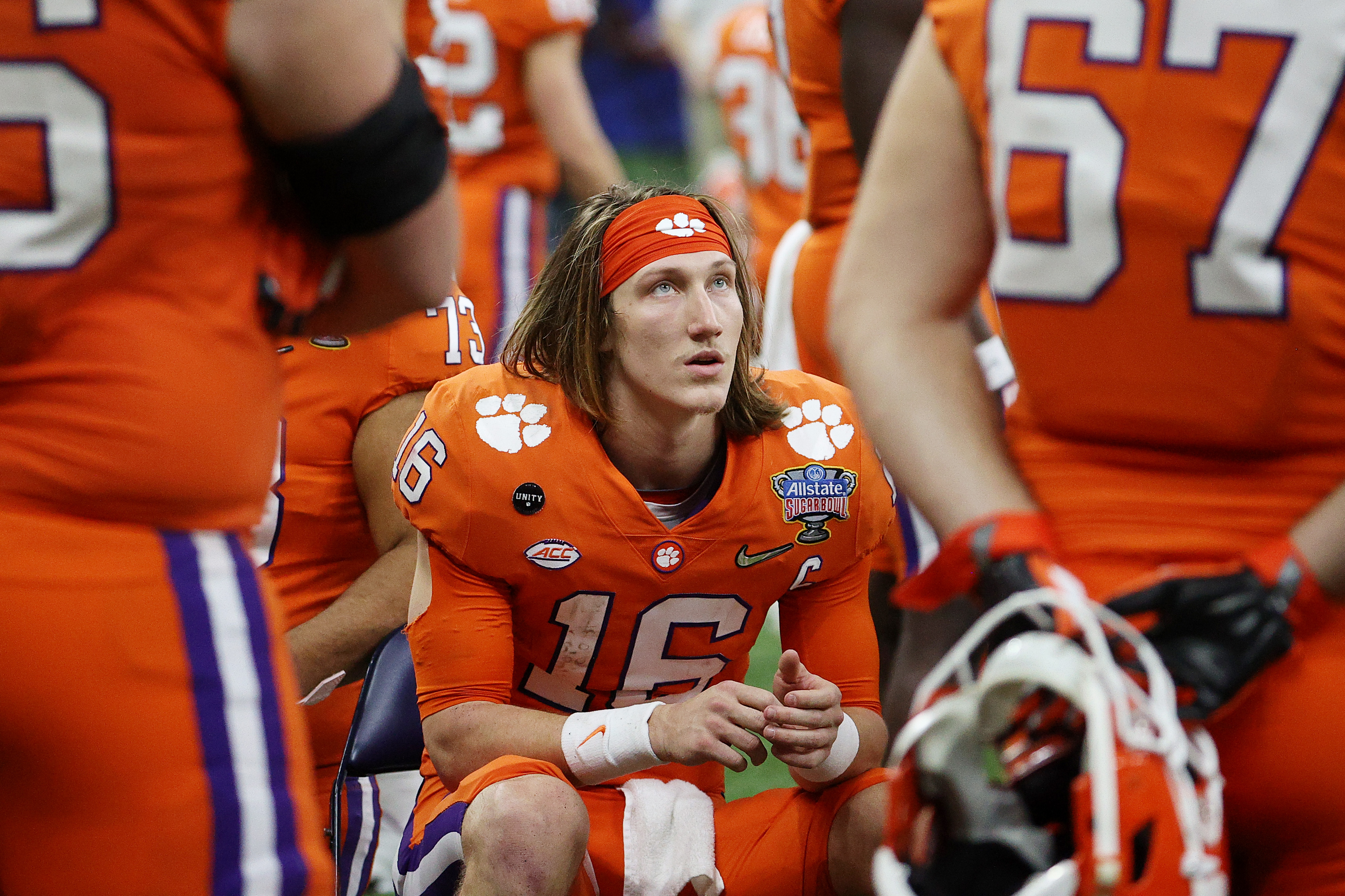 Trevor Lawrence of the Clemson Tigers looks on during the College Football Playoff semifinal game