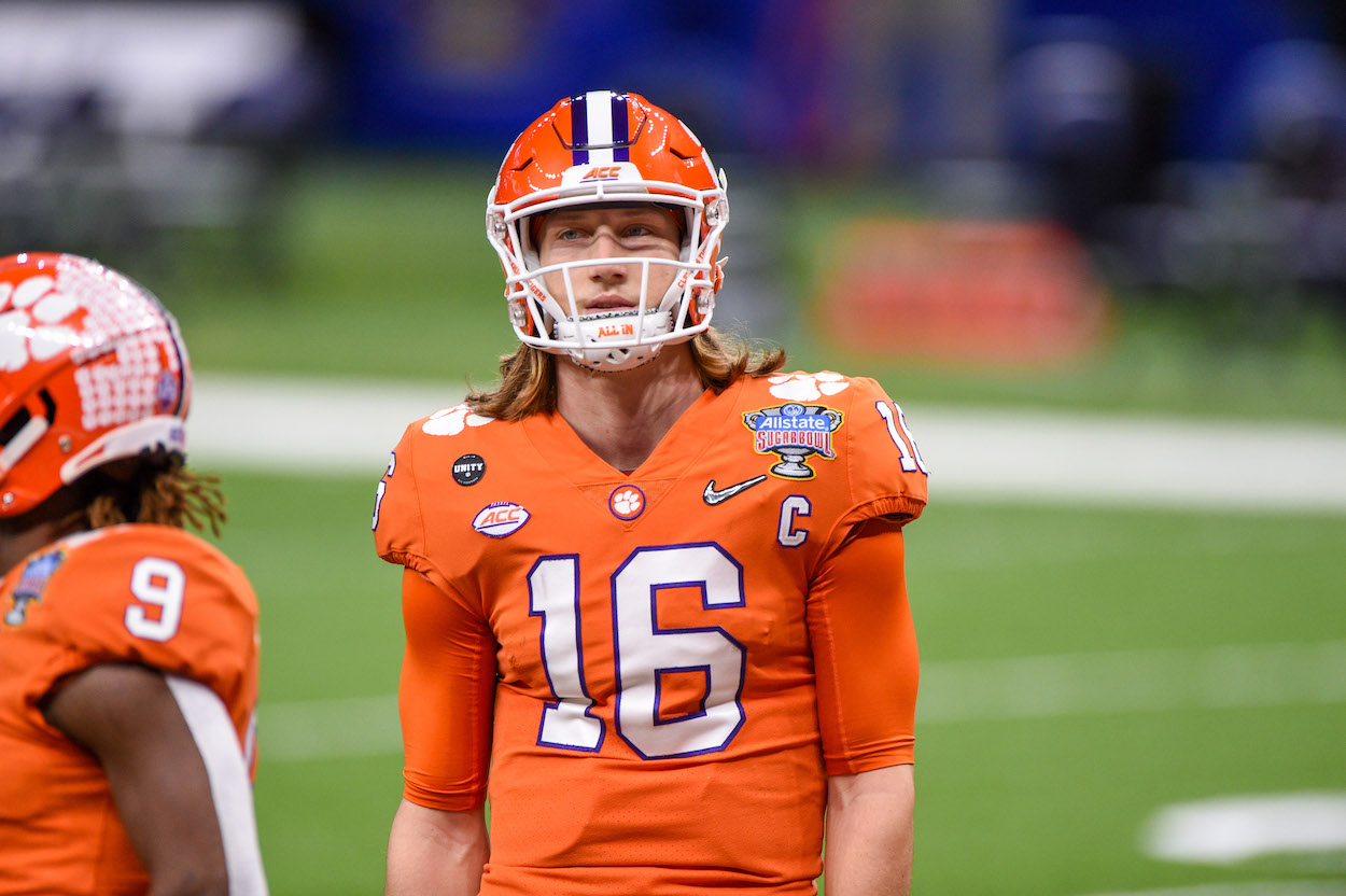 Trevor Lawrence warms up before game
