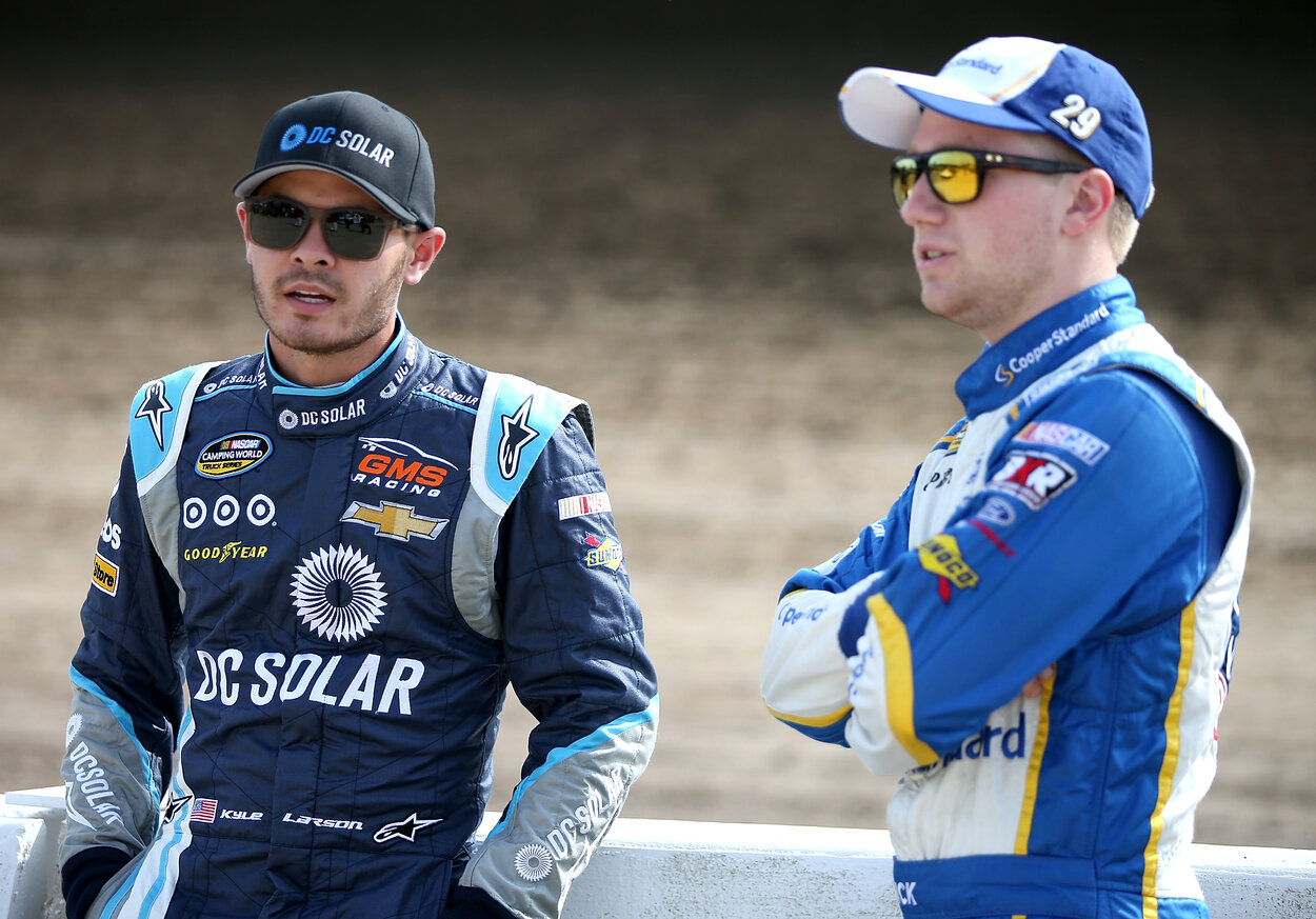 Kyle Larson (L) and Tyler Reddick in 2016.