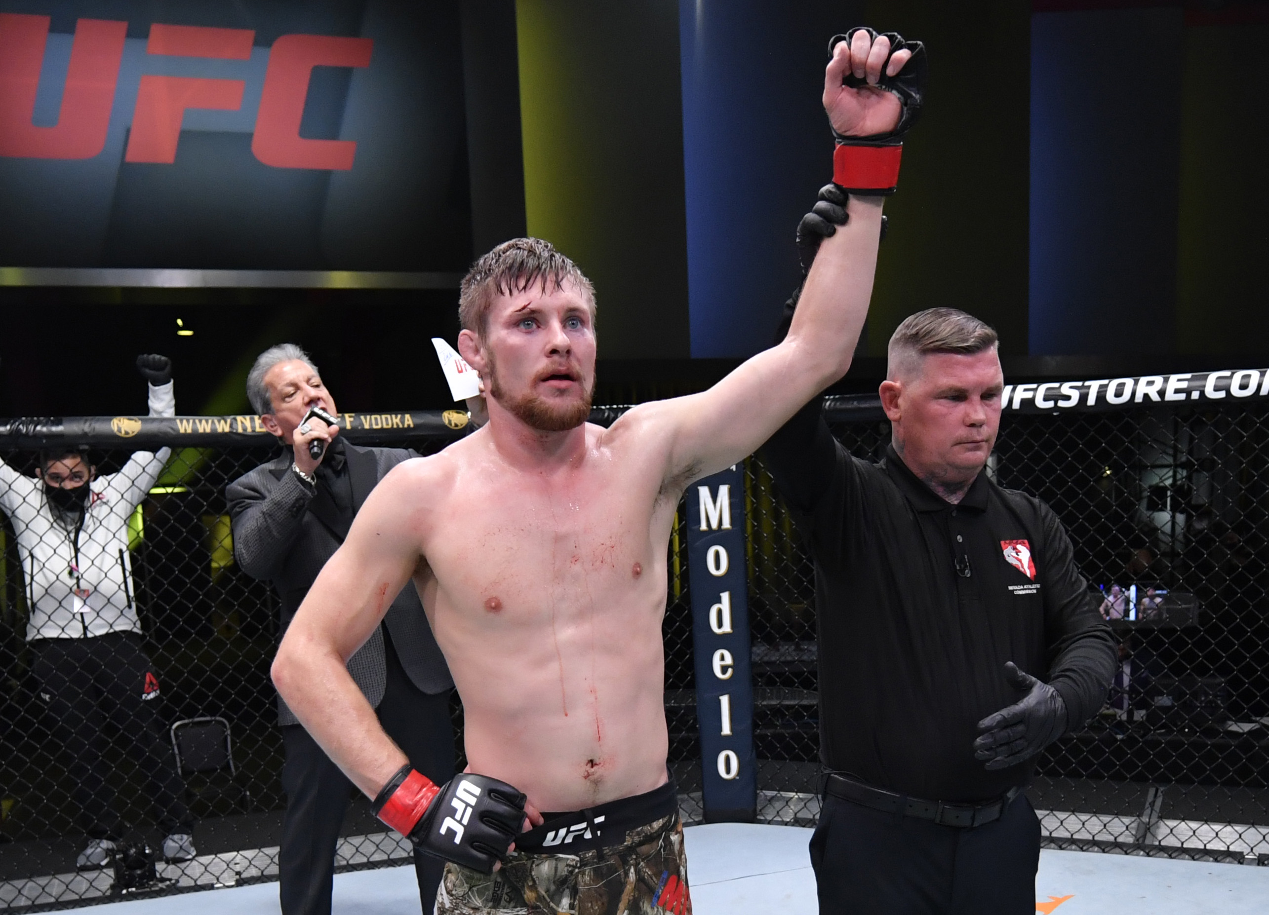 Bryce Mitchell reacts after his victory over Andre Fili in a featherweight bout during a 2020 UFC Fight Night