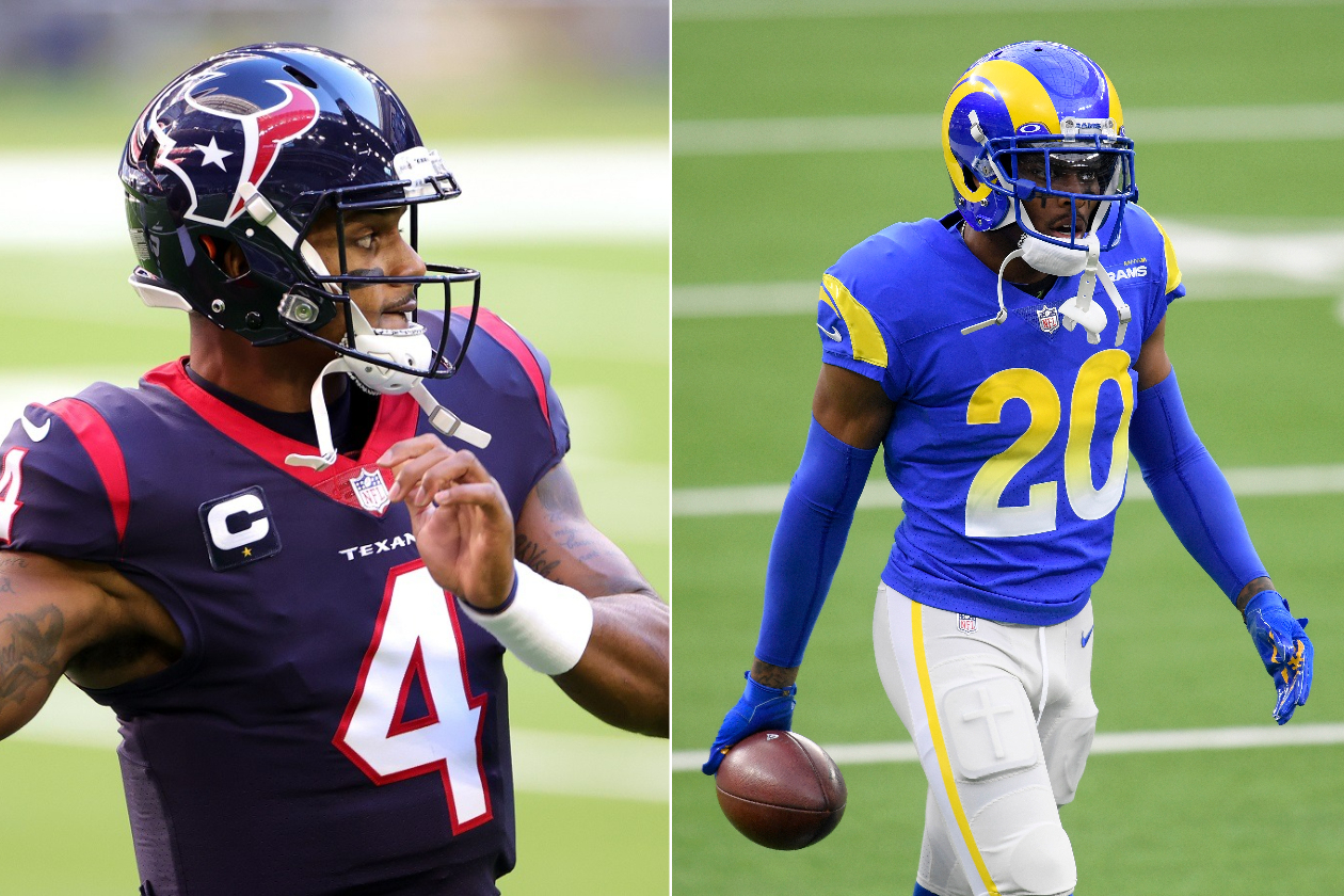 Houston Texans QB Deshaun Watson (left) and Los Angeles Rams CB Jalen Ramsey