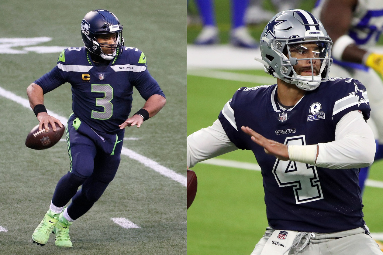 Seattle Seahawks QB Russell Wilson and Dallas Cowboys QB Dak Prescott, two quarterbacks tied in a rumored transaction that probably will not happen.