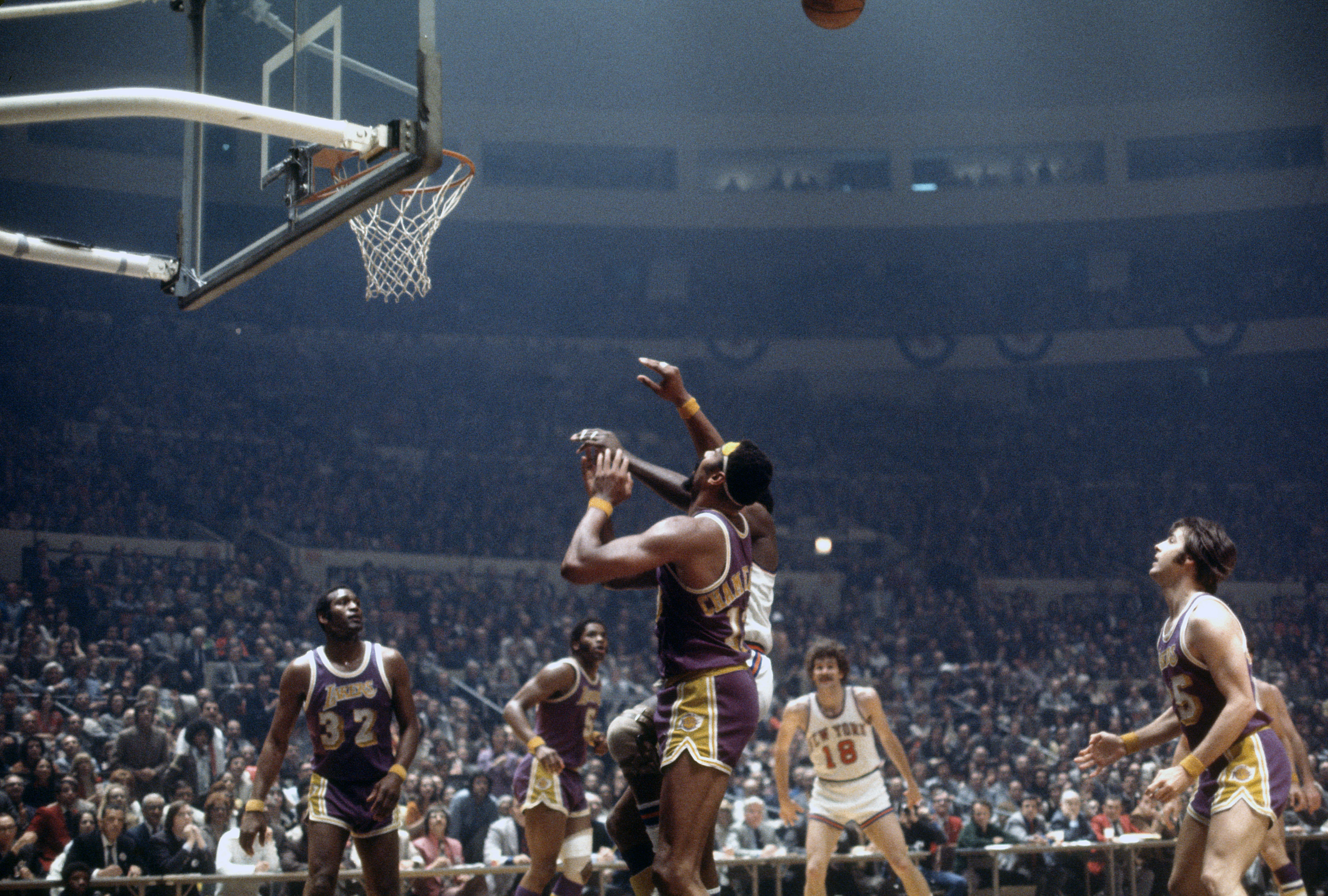 Wilt Chamberlain of the Los Angeles Lakers in action in 1972