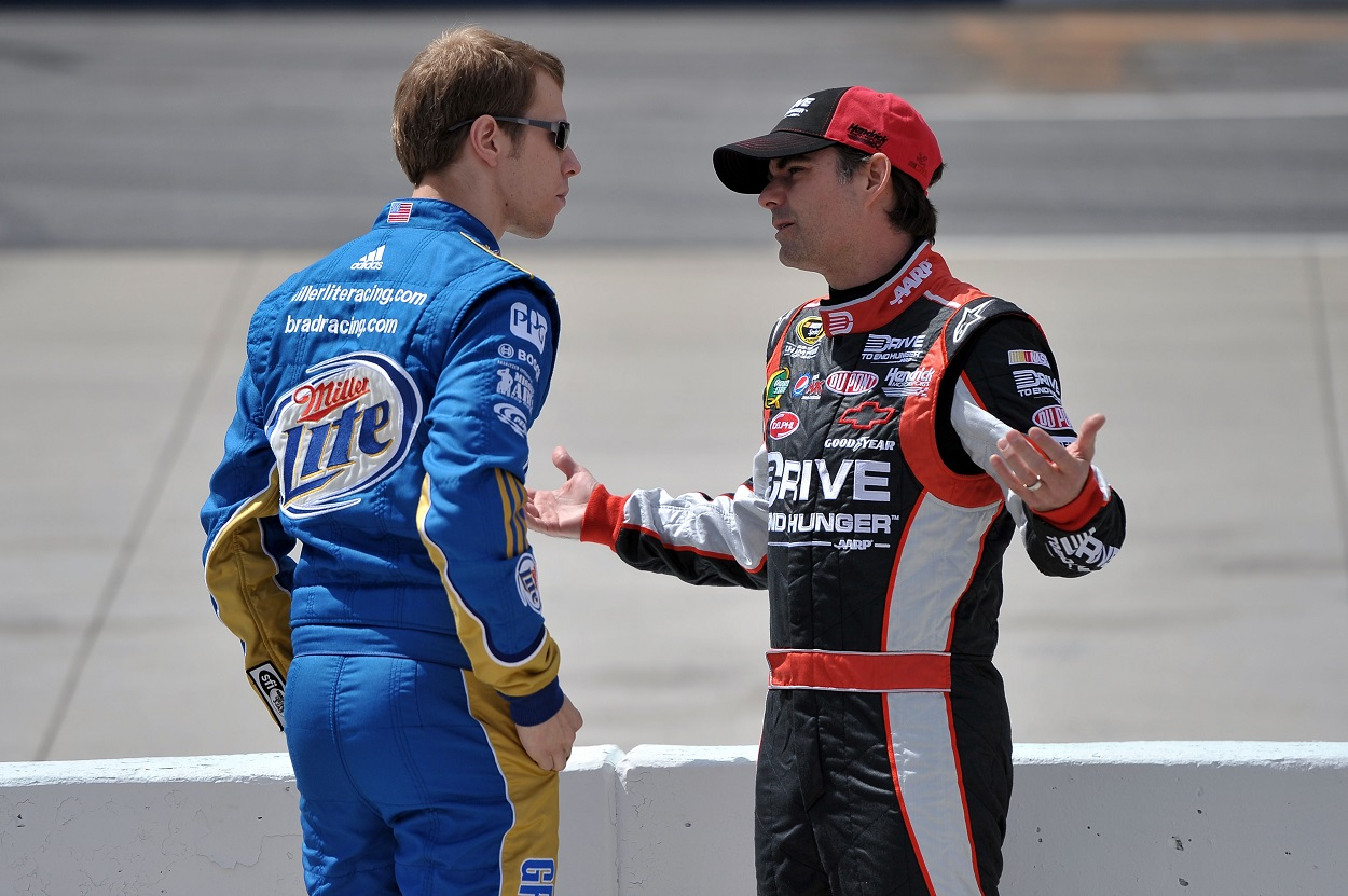Jeff Gordon and Brad Keselowski talk before 2011 qualifying race for a Cup Series race.