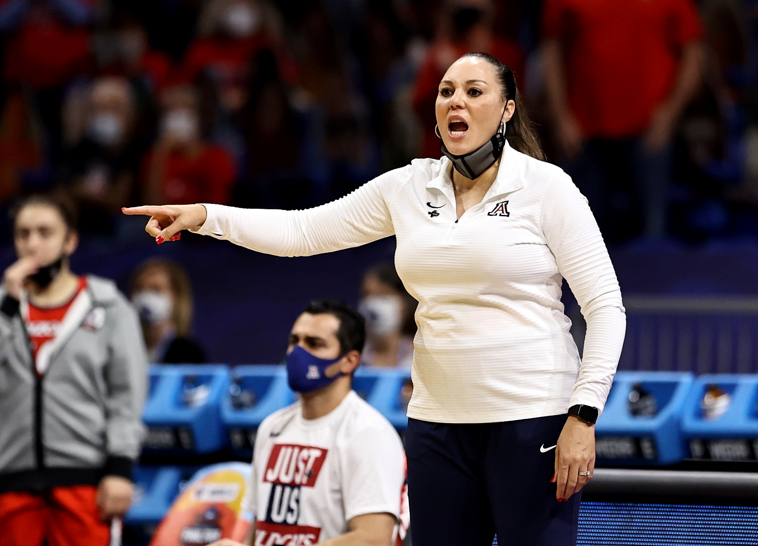 Arizona Wildcats head coach Adia Barnes directs her players during the national title game against Stanford.