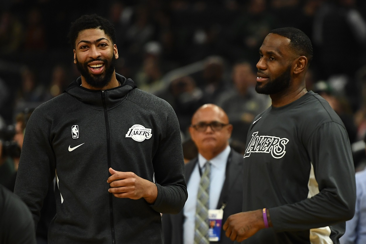Lakers stars Anthony Davis and LeBron James prepare for a game.
