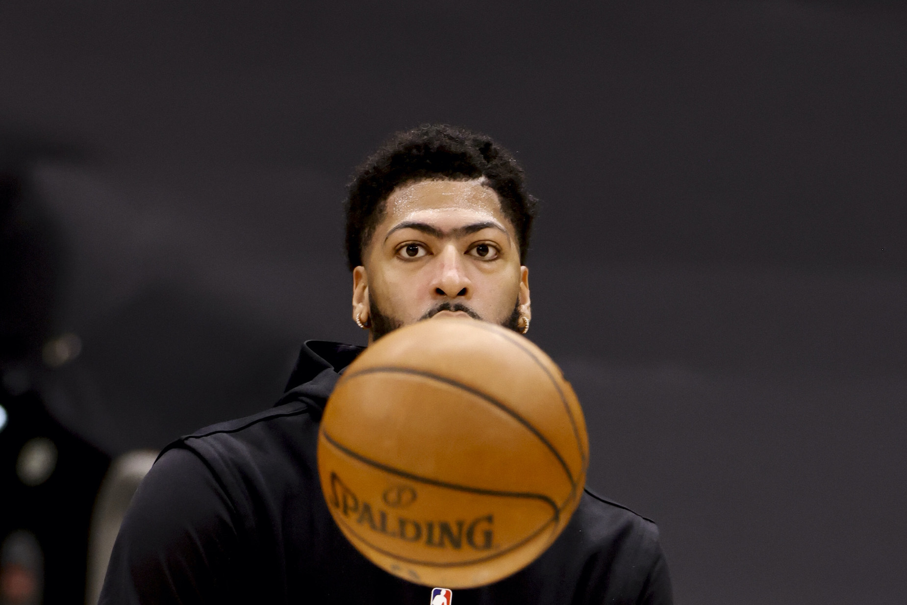 Lakers big man Anthony Davis on the court ahead of a game in April 2021.