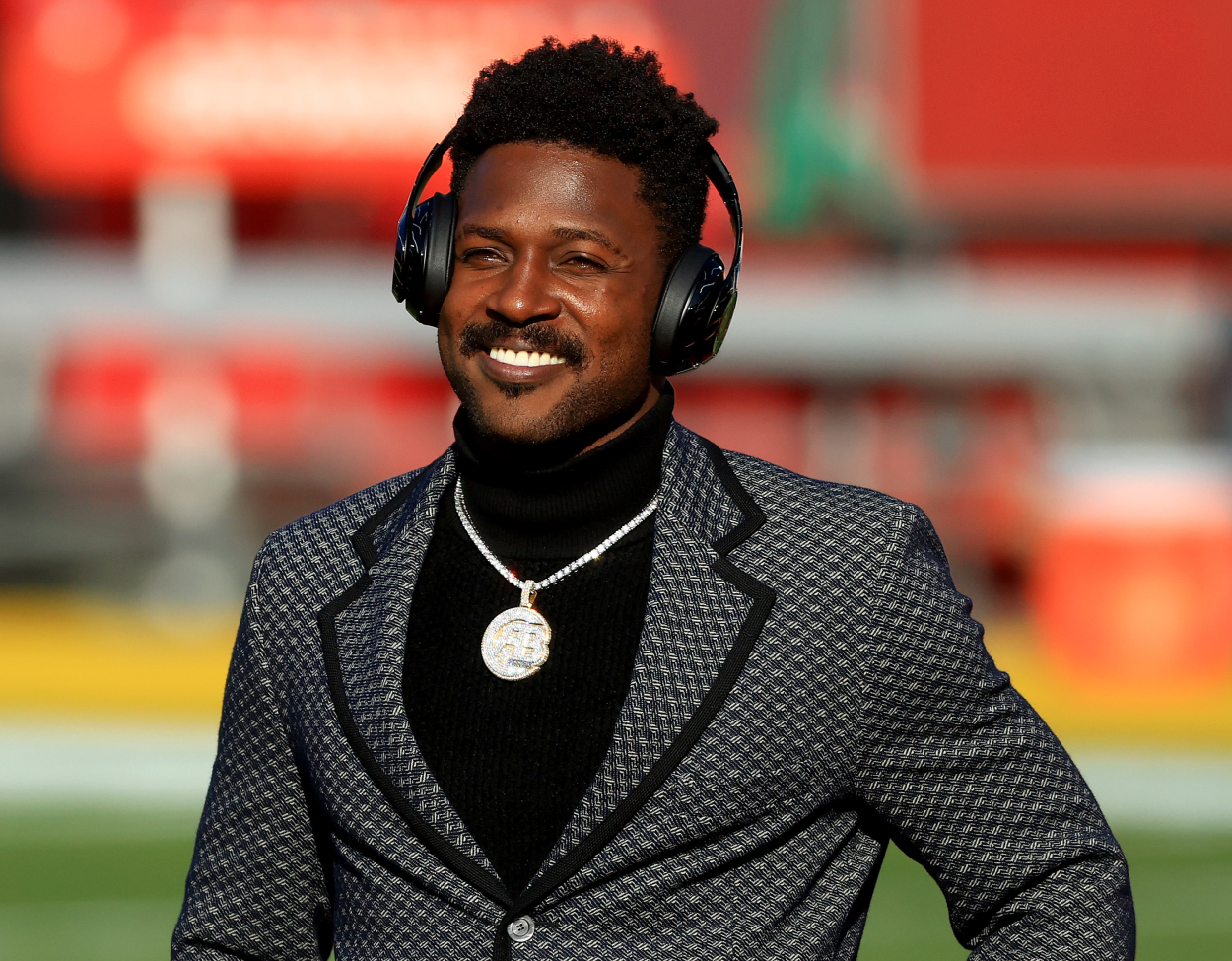 Antonio Brown, who won a Super Bowl with Tom Brady and the Buccaneers.