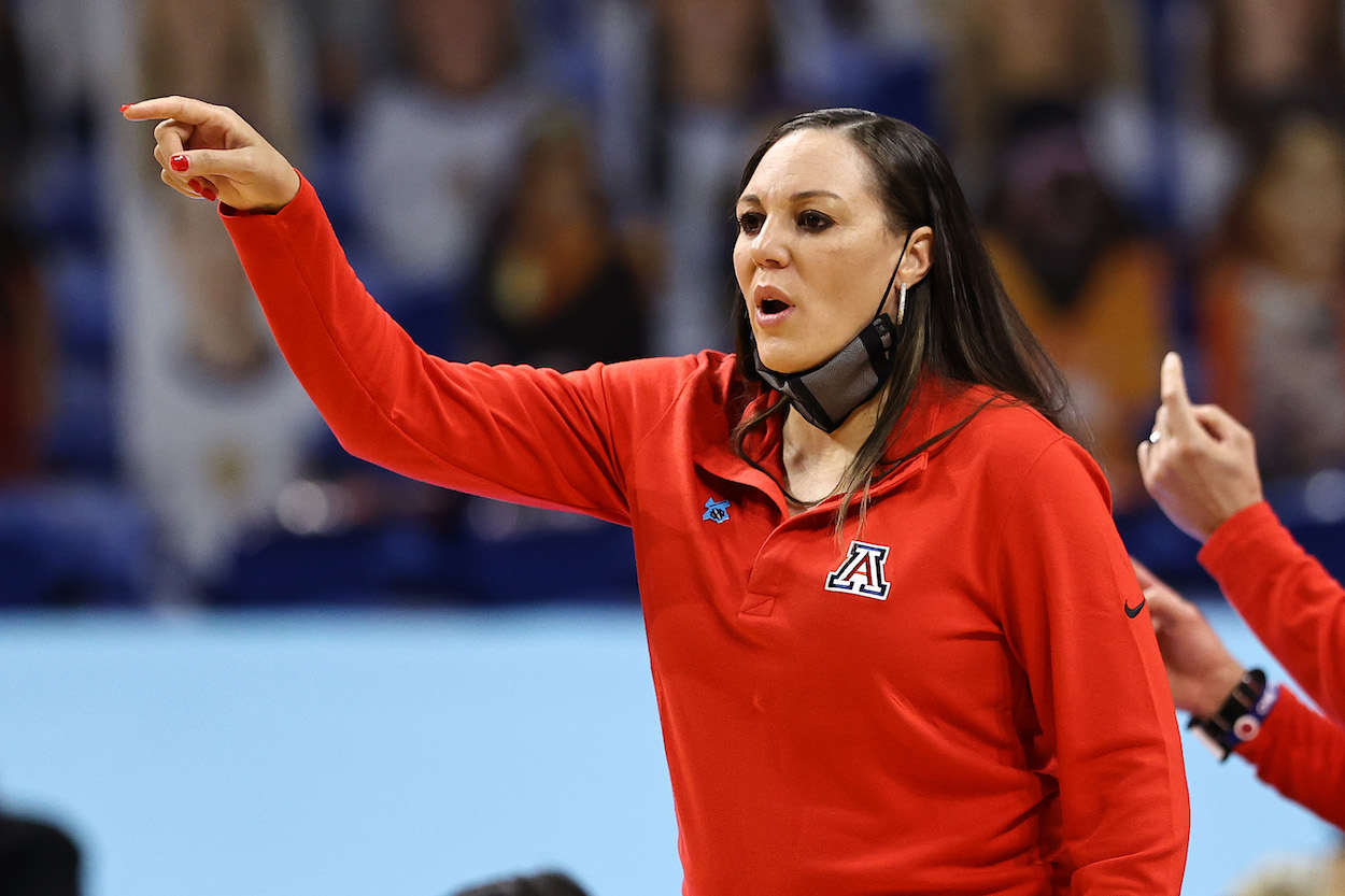 Adia Barnes of the Arizona Wildcats calls out to her team