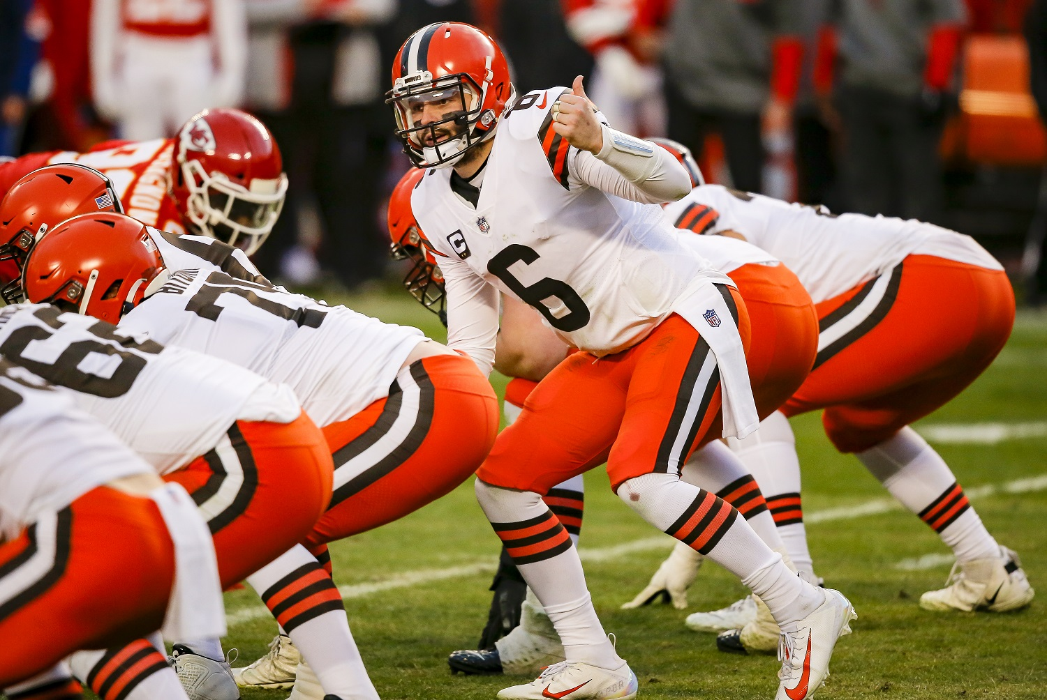 Quarterback Baker Mayfield, the No. 1 selection in the 2018 NFL draft, showed significant improvement in his third NFL season while leading the Cleveland Browns to a playoff berth. David Eulitt/Getty Images