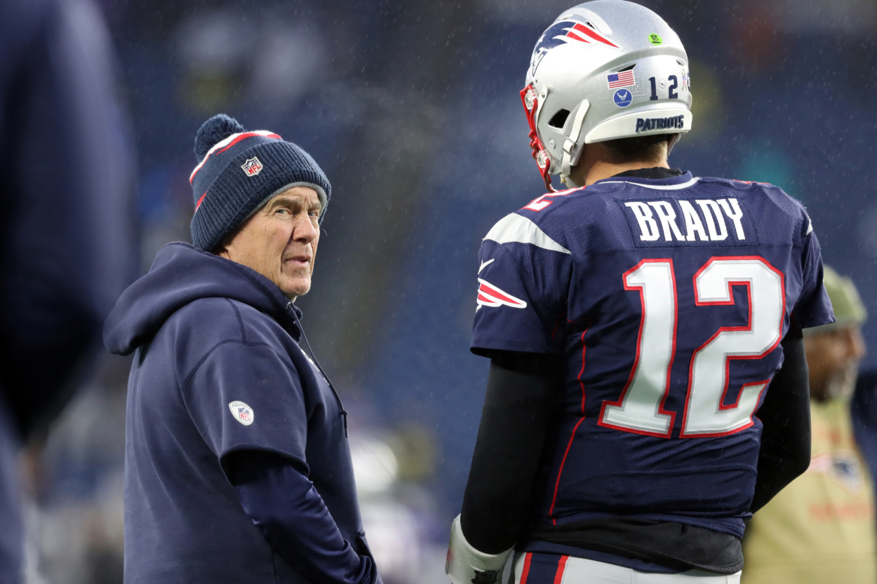 Patriots coach Bill Belichick and former Patriots quarterback Tom Brady.