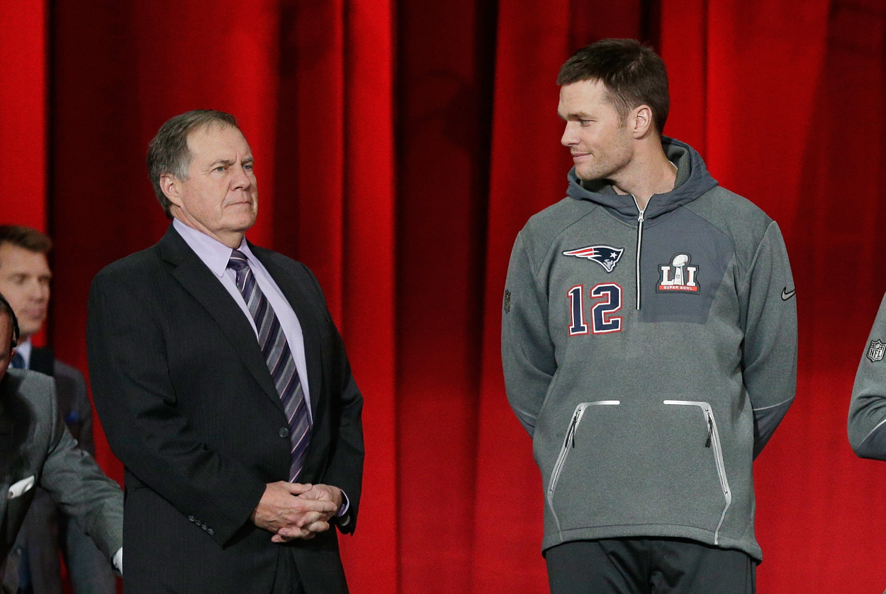 Patriots head coach Bill Belichick and former Patriots QB Tom Brady.