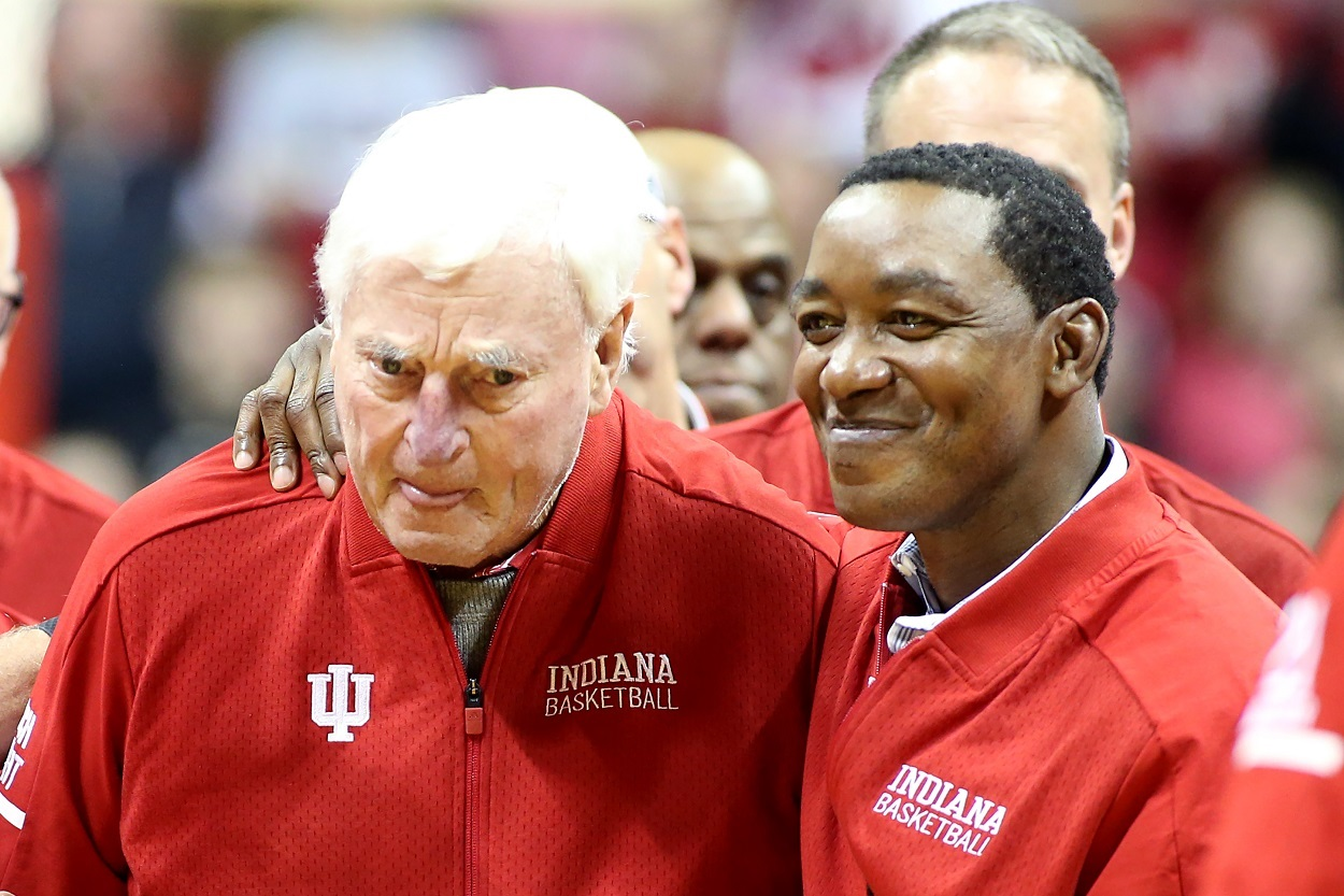 Former Hoosiers Bob Knight and Isiah Thomas during halftime of an Indiana vs. Purdue game in February 2020