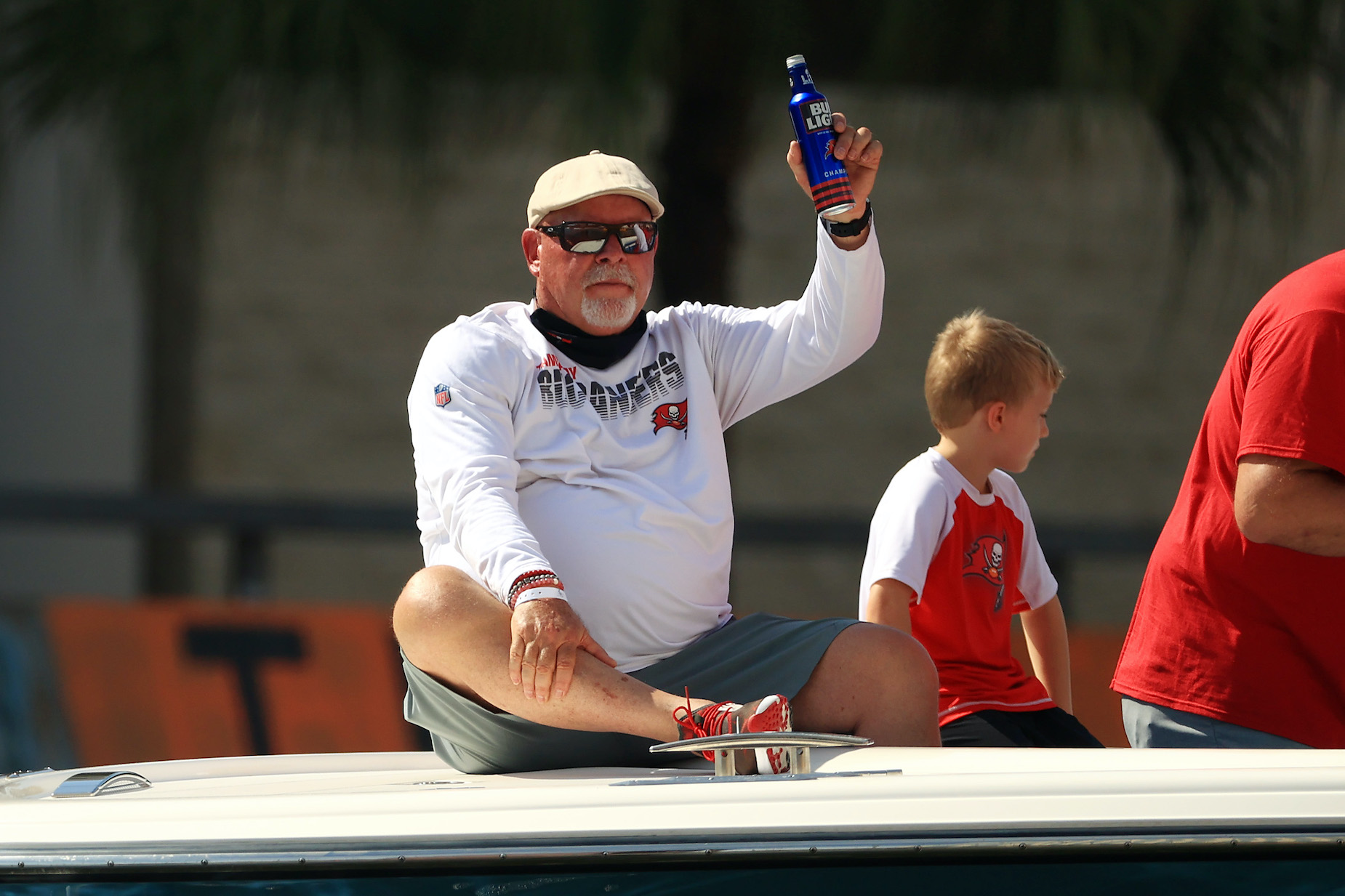 Head coach Bruce Arians celebrates during the Tampa Bay Buccaneers Super Bowl victory parade.