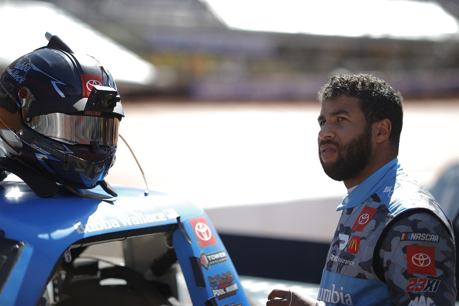 Bubba Wallace has not finished in the top 15 yet through seven races of the 2021 NASCAR Cup Series schedule with his new team, 23XI Racing, owned by Michael Jordan. | Chris Graythen/Getty Images