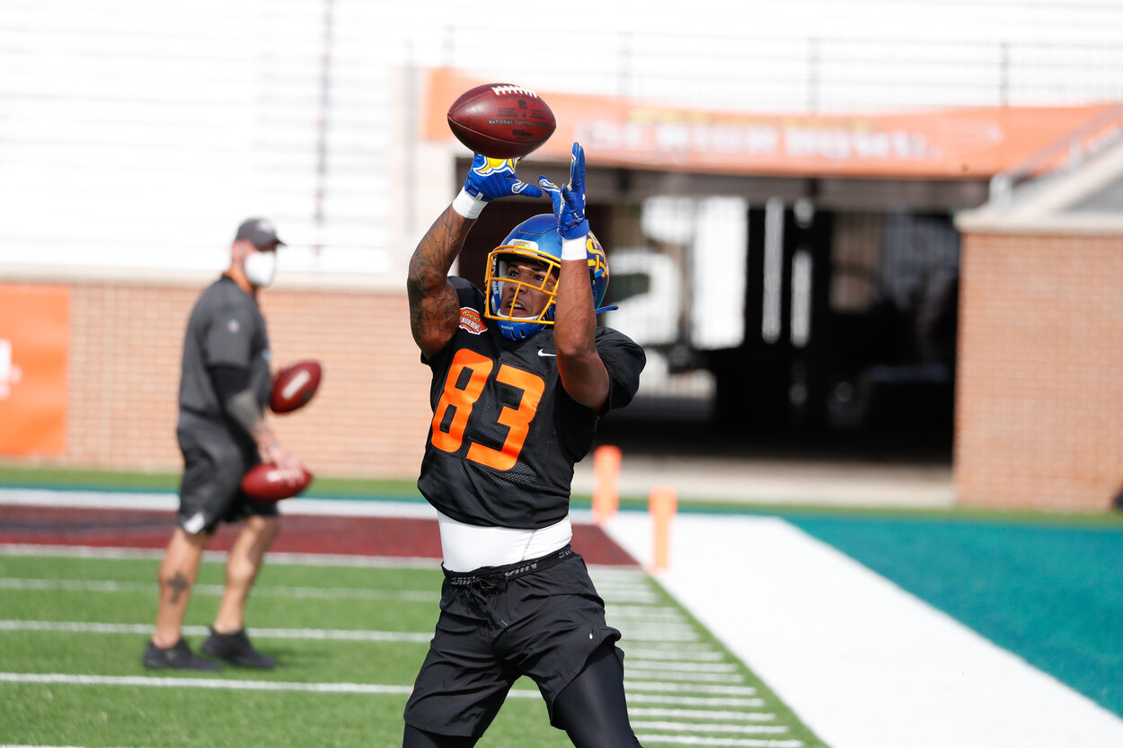Former South Dakota receiver Cade Johnson boosted his 2021 NFL draft stock at the Senior Bowl.
