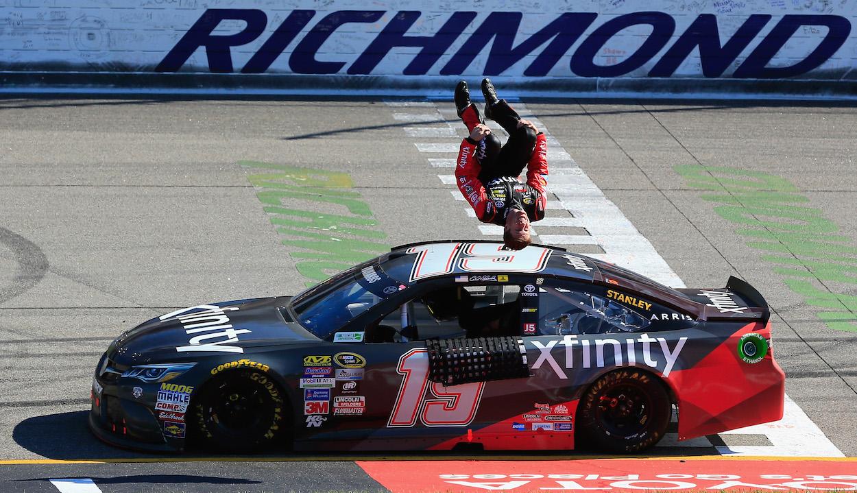 Carl Edwards performs back flip after winning NASCAR race