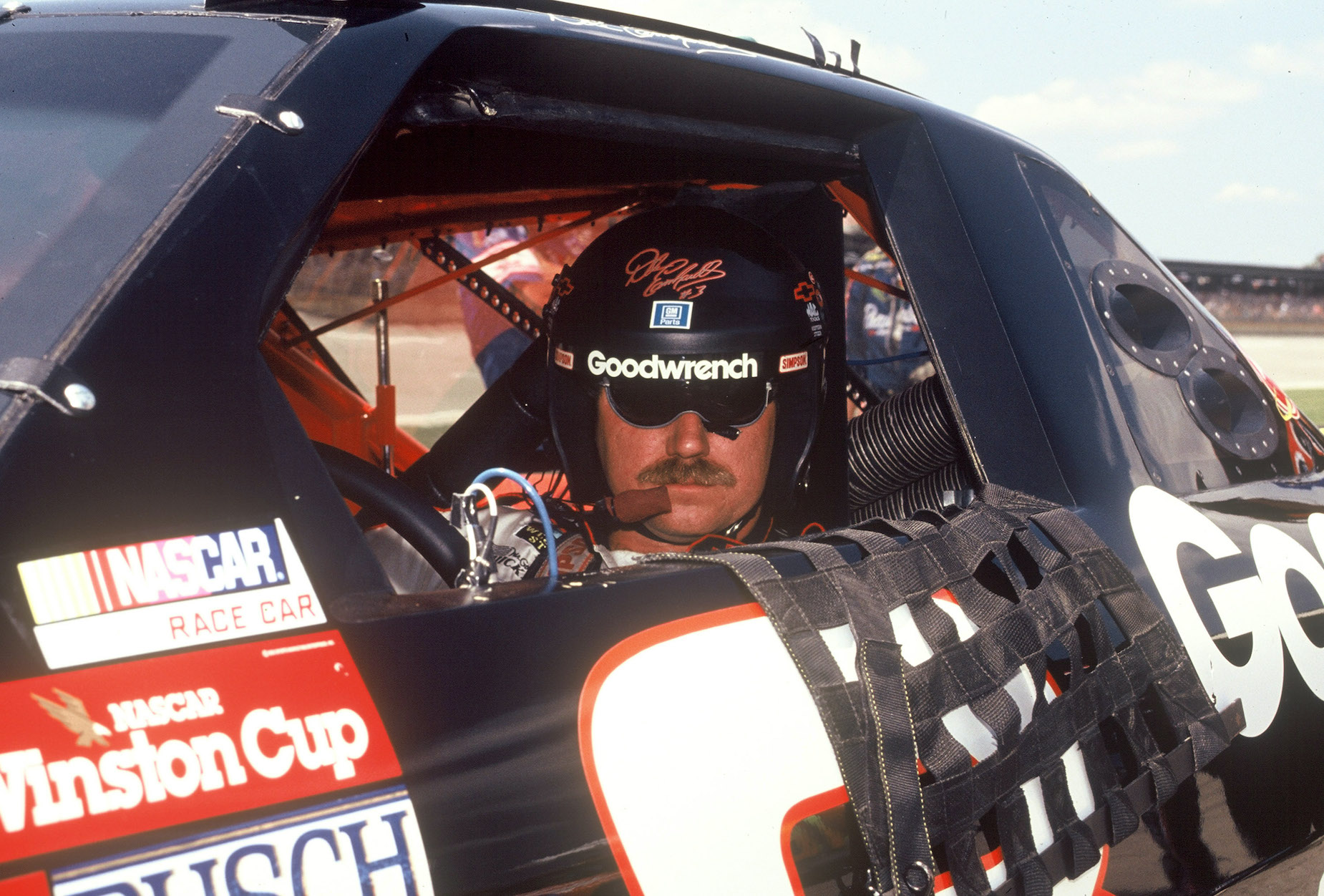 Dale Earnhardt Sr. in his car at the Daytona International Speedway/