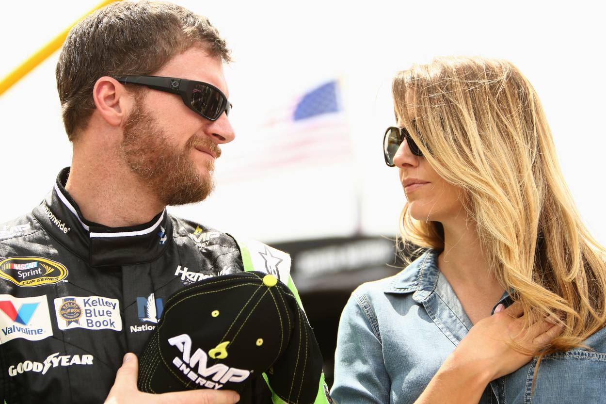 NASCAR legend Dale Earnhardt Jr. and his wife, Amy, in 2015. At the time, Amy was his fiancee.