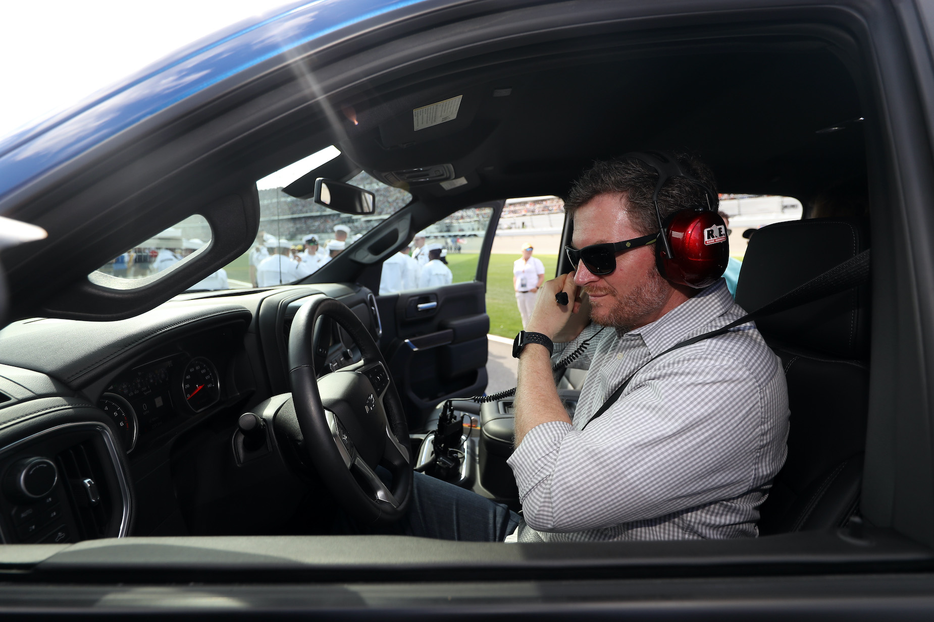 NASCAR star Dale Earnhardt Jr. in the pace truck ahead of the 2019 Daytona 500.