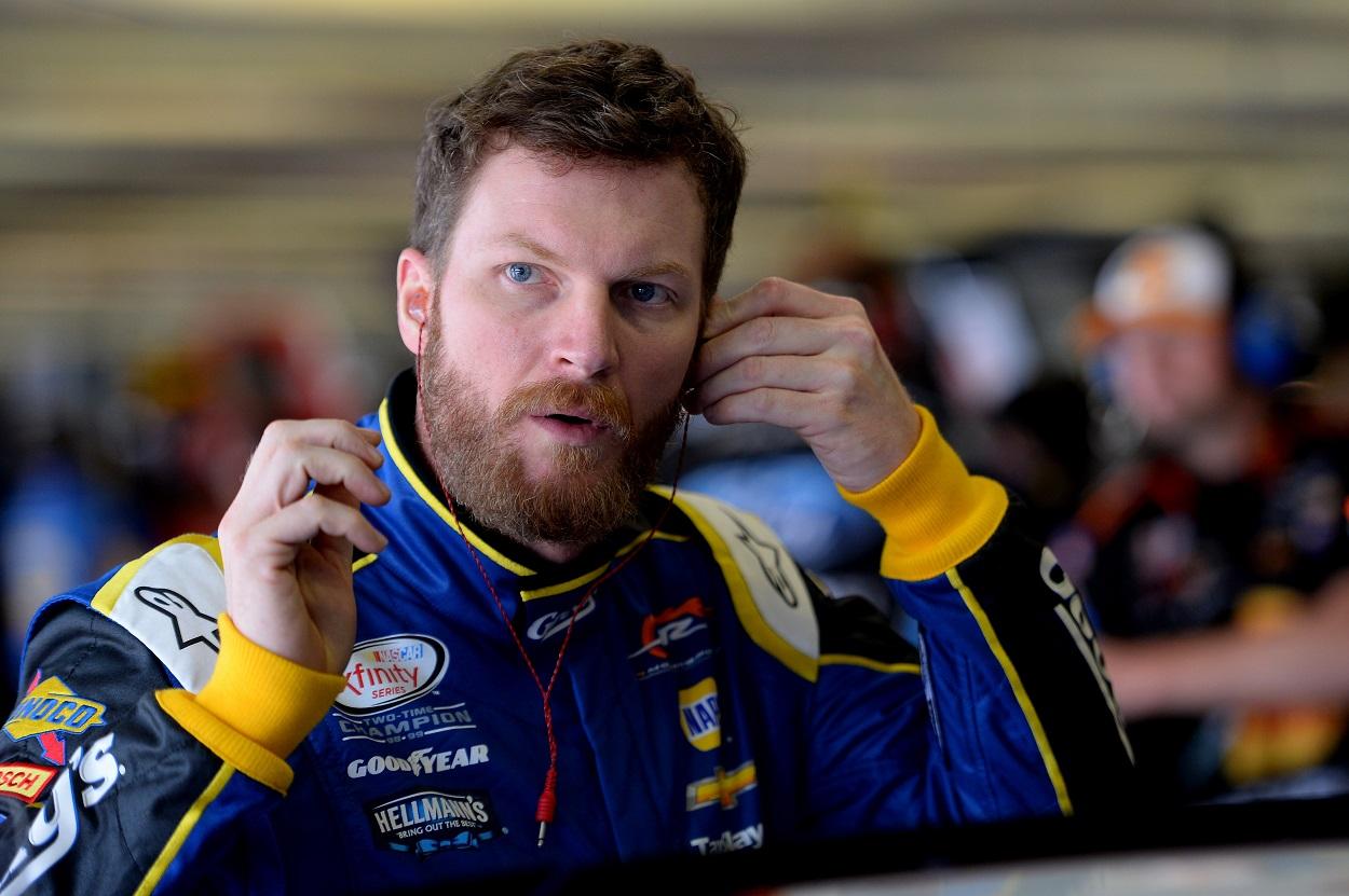 Dale Earnhardt Jr. prepares for a NASCAR Cup Series race.