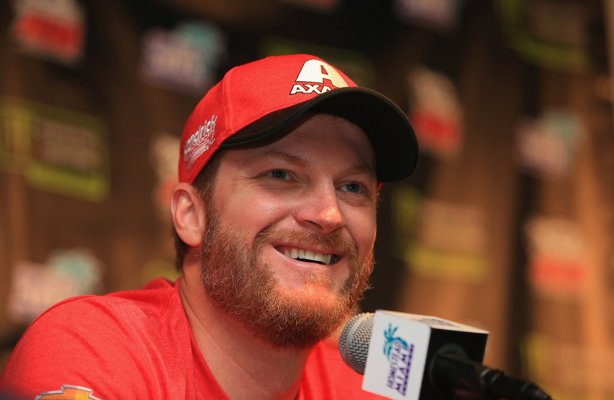 Dale Earnhardt Jr. speaks to the NASCAR media before a race during his final season.