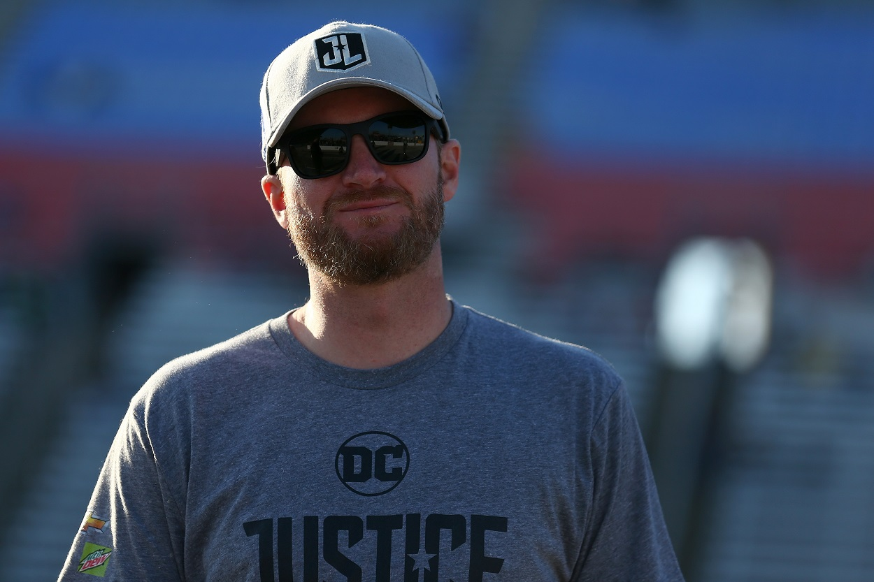 Dale Earnhardt Jr. looks on before a NASCAR Cup Series race.