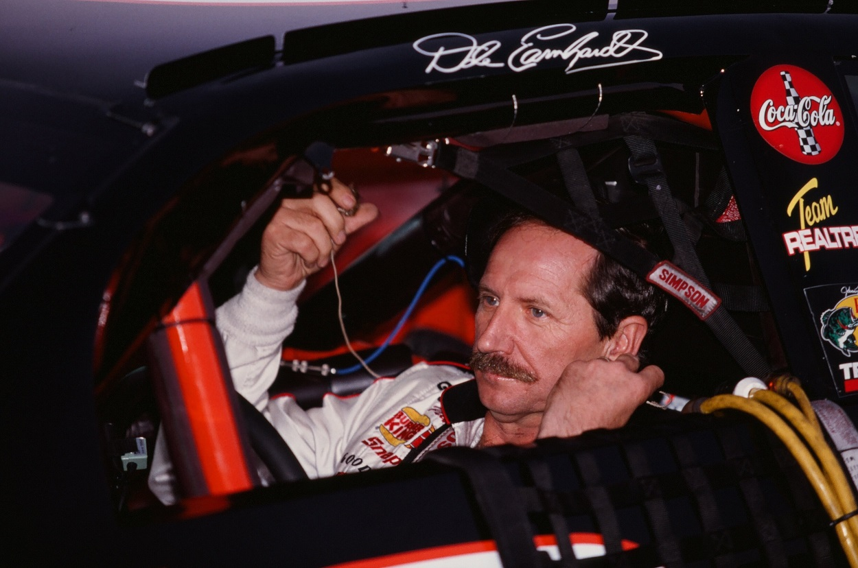 Dale Earnhardt Sr. prepares for a NASCAR race.